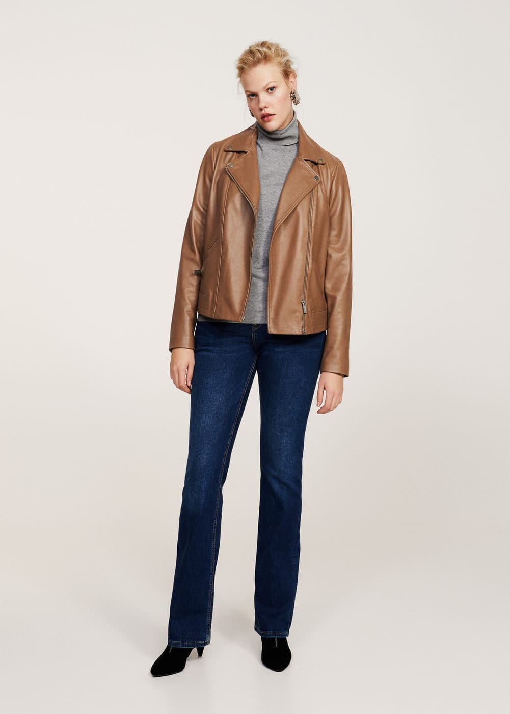 Zip-detail leather biker jacket | VIOLETA BY MANGO