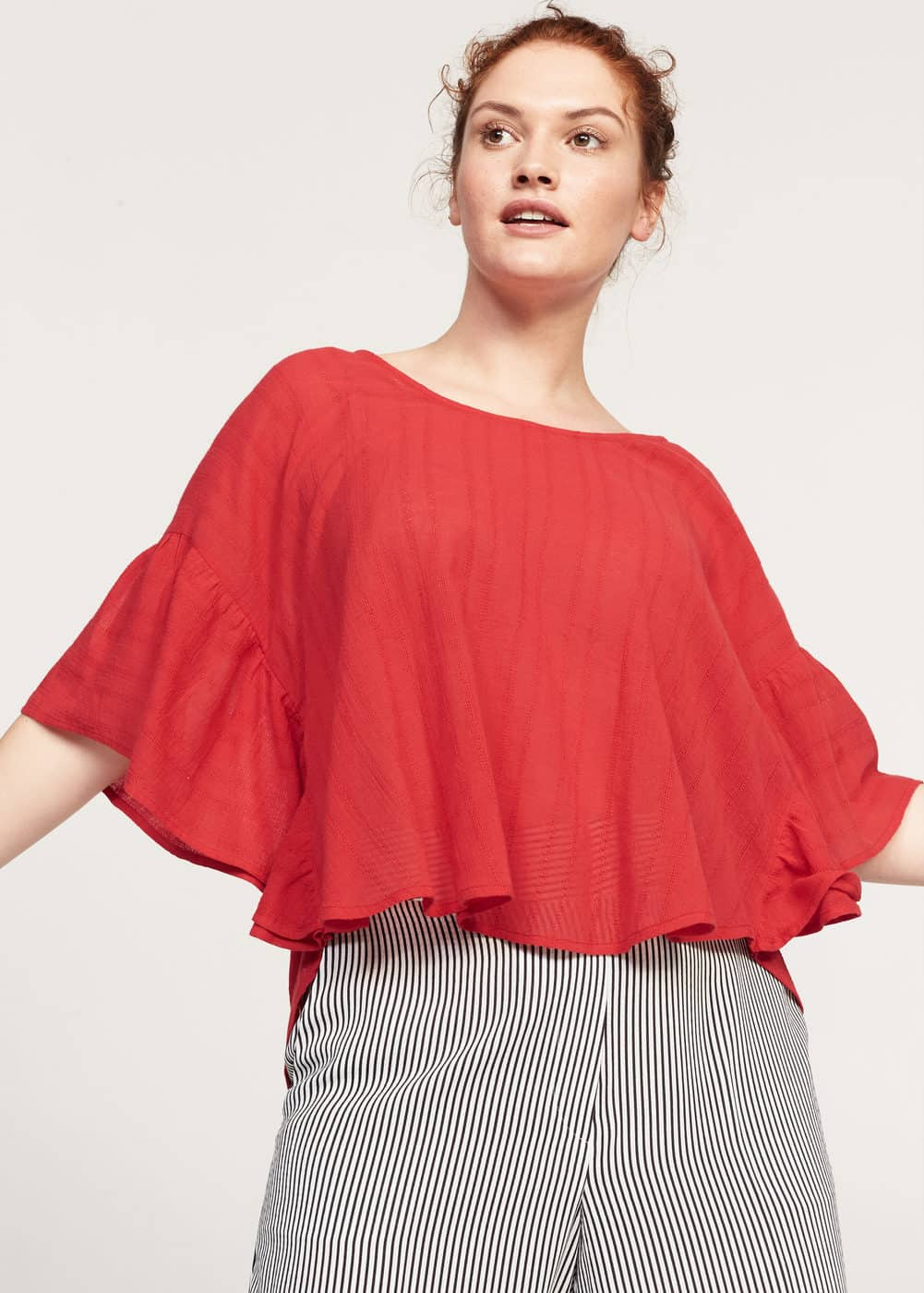 Ruffled sleeve blouse | VIOLETA BY MANGO