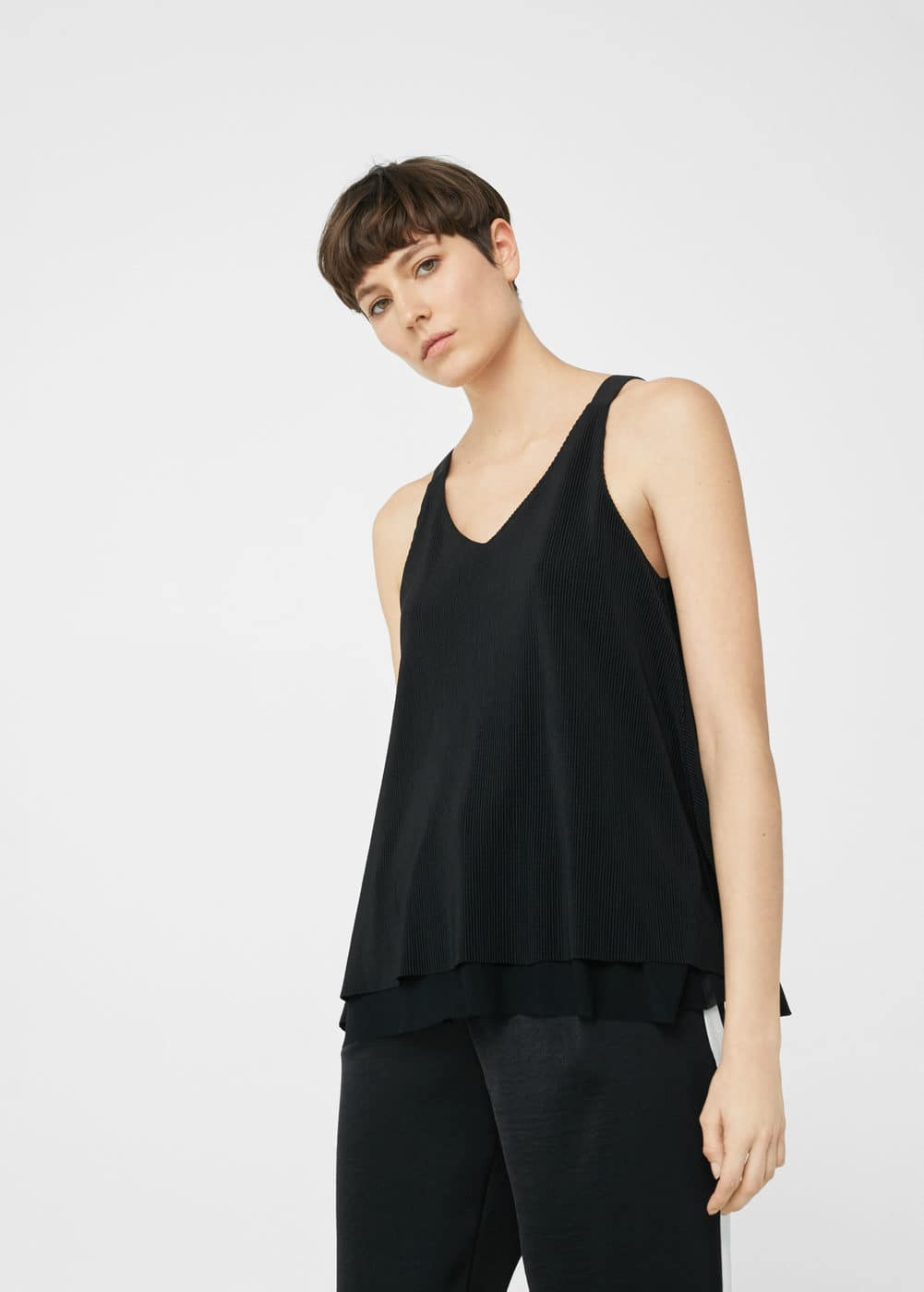 Pleated strap top | MANGO