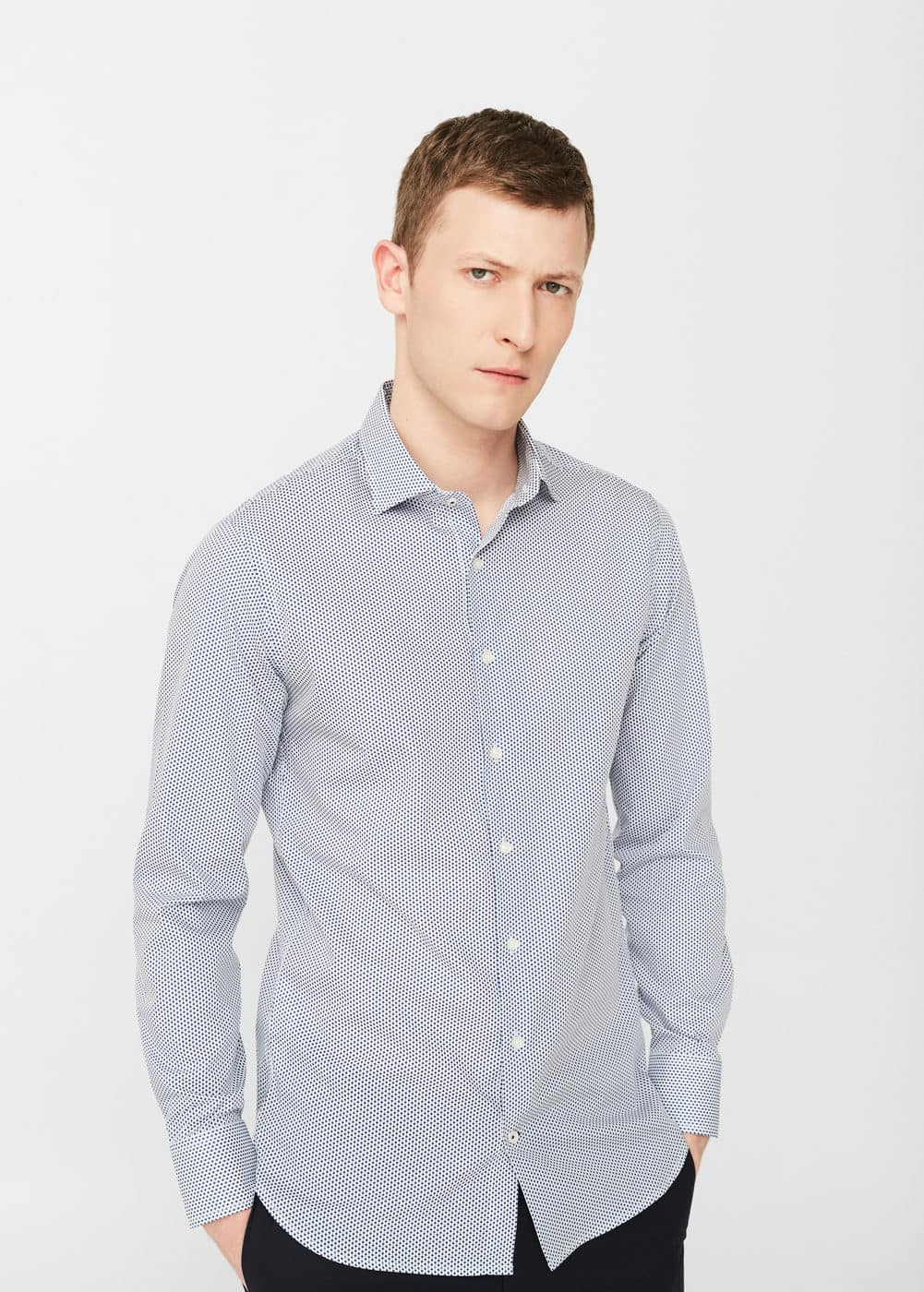 Slim-fit tailored printed shirt | MANGO MAN
