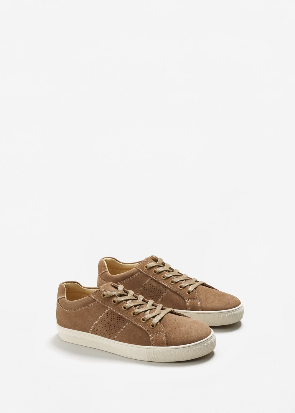 Suede panels sneakers | MANGO