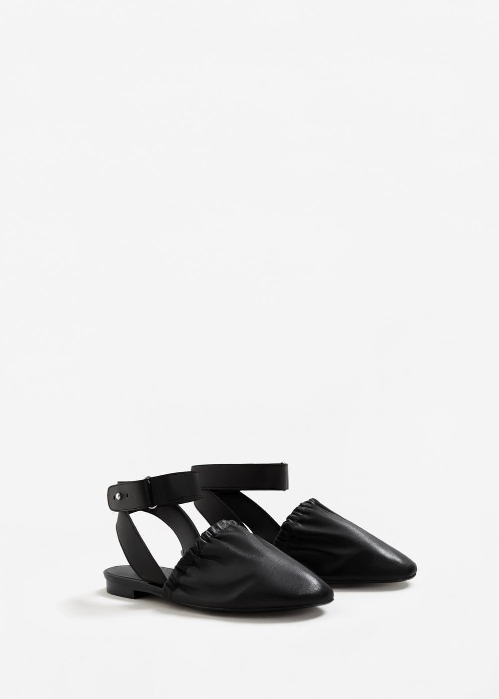 Slingback leather shoes | MANGO