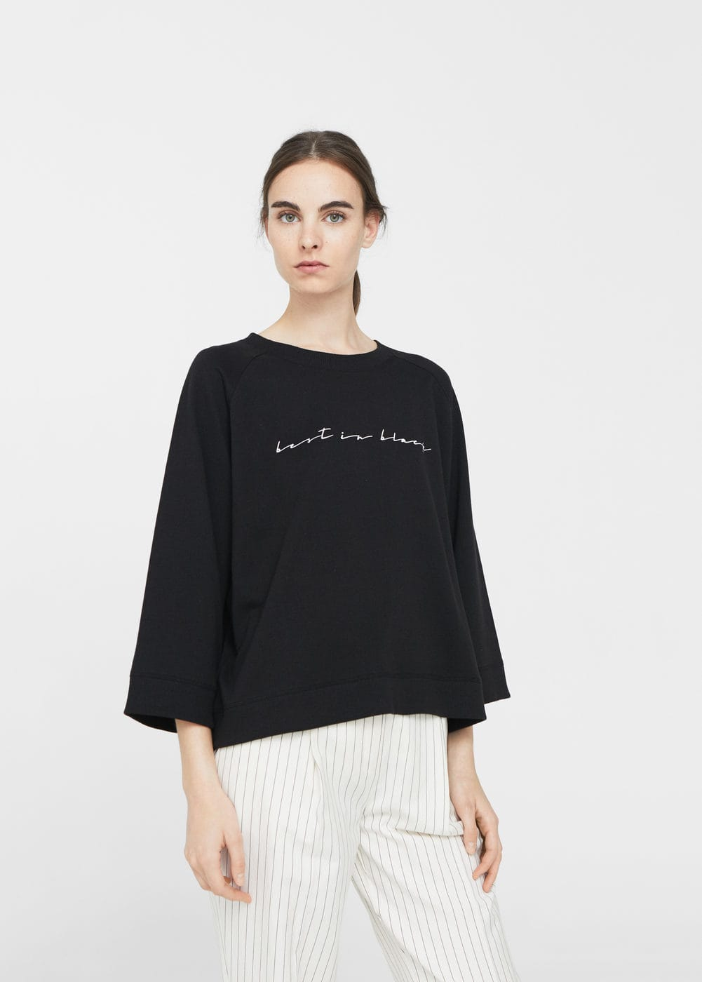 Cotton-blend message sweatshirt | MANGO