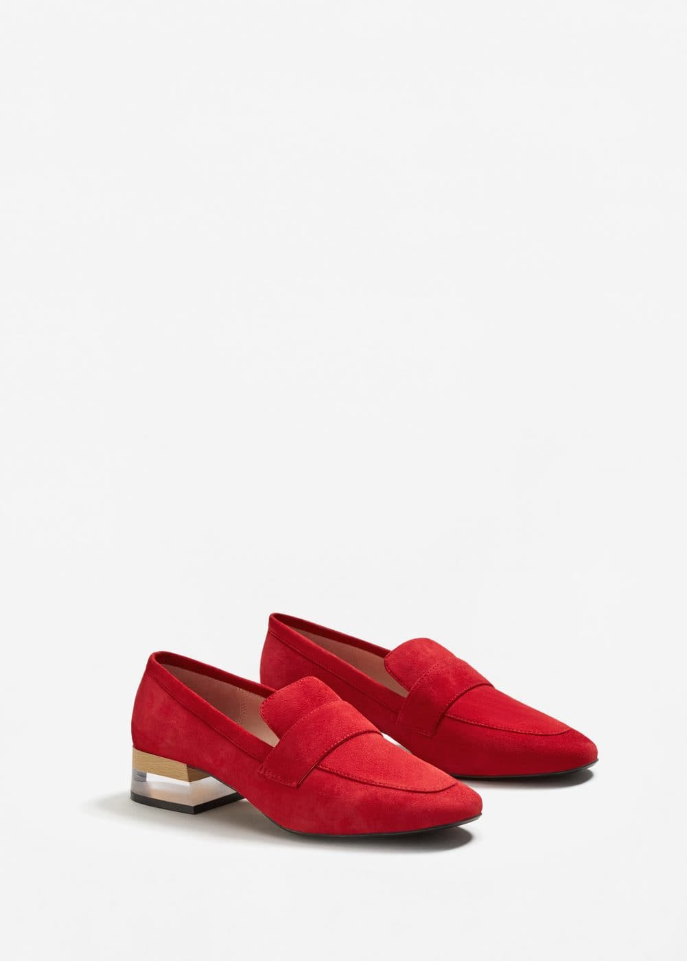 Contrast heel leather loafers | MNG