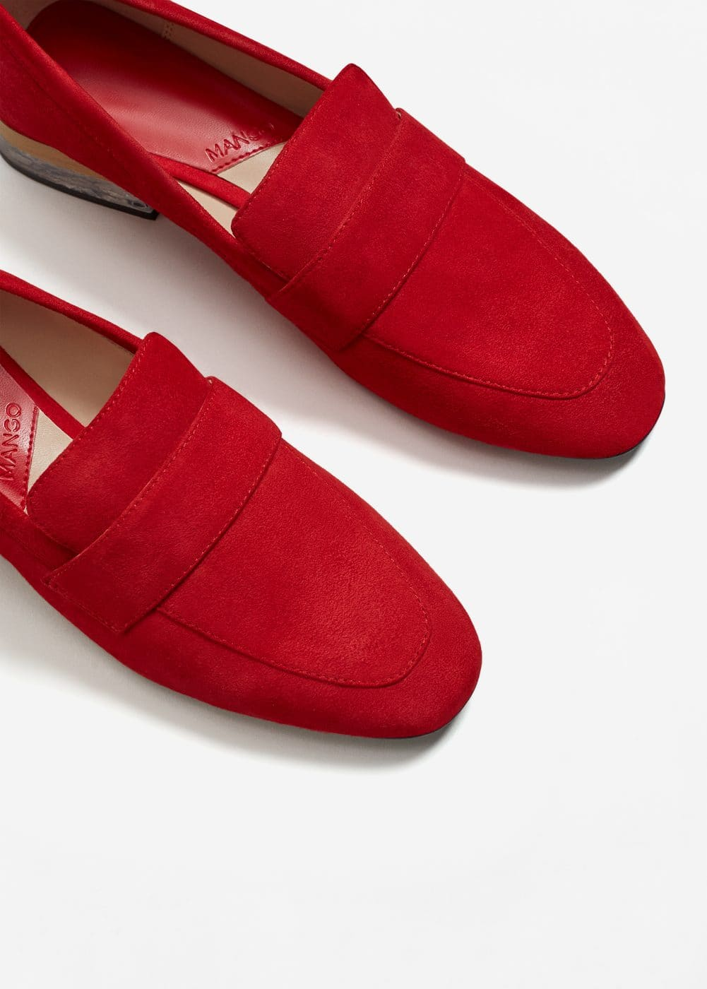 Contrast heel leather loafers | MANGO