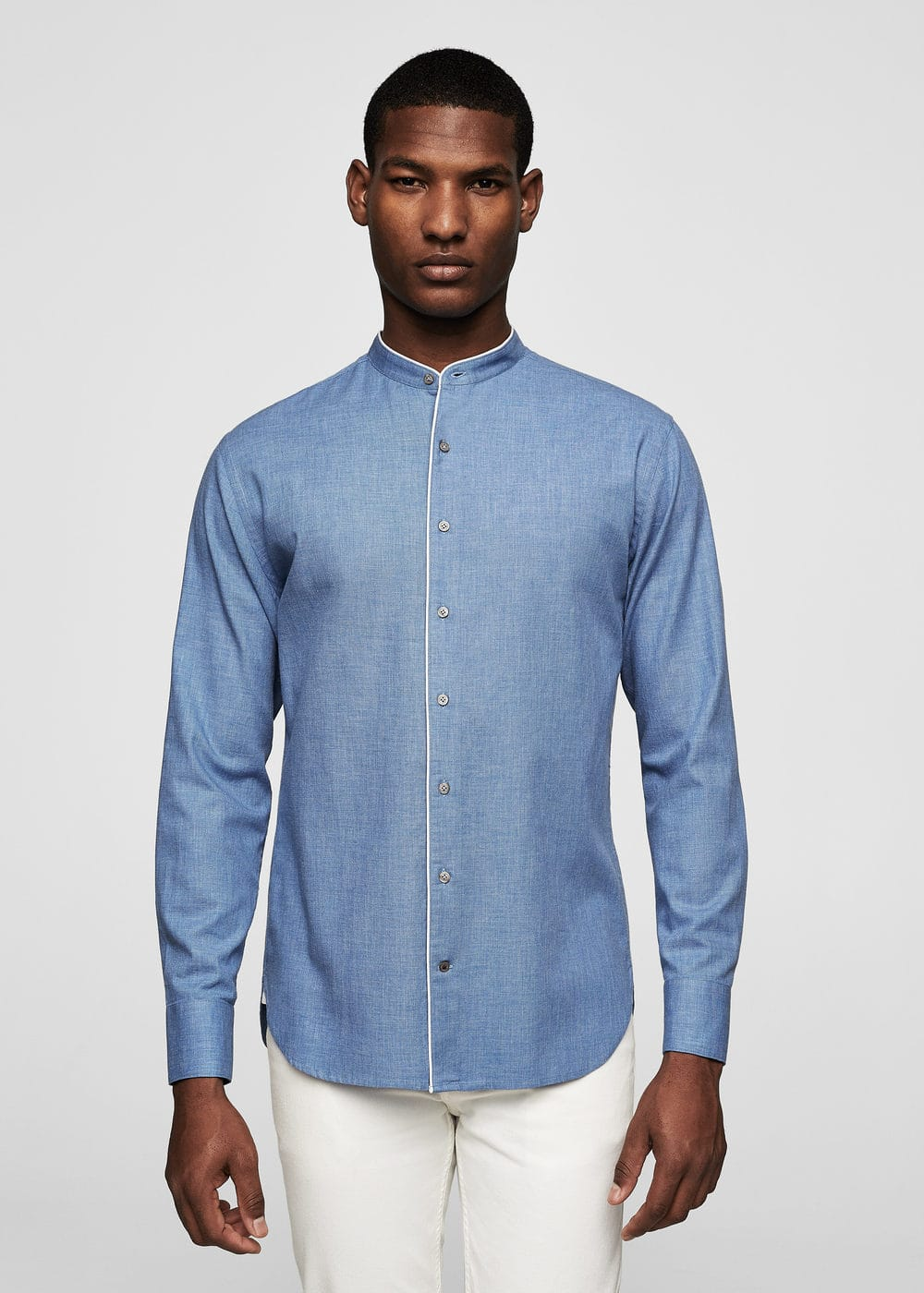 Camisa regular-fit coll mao | MANGO MAN
