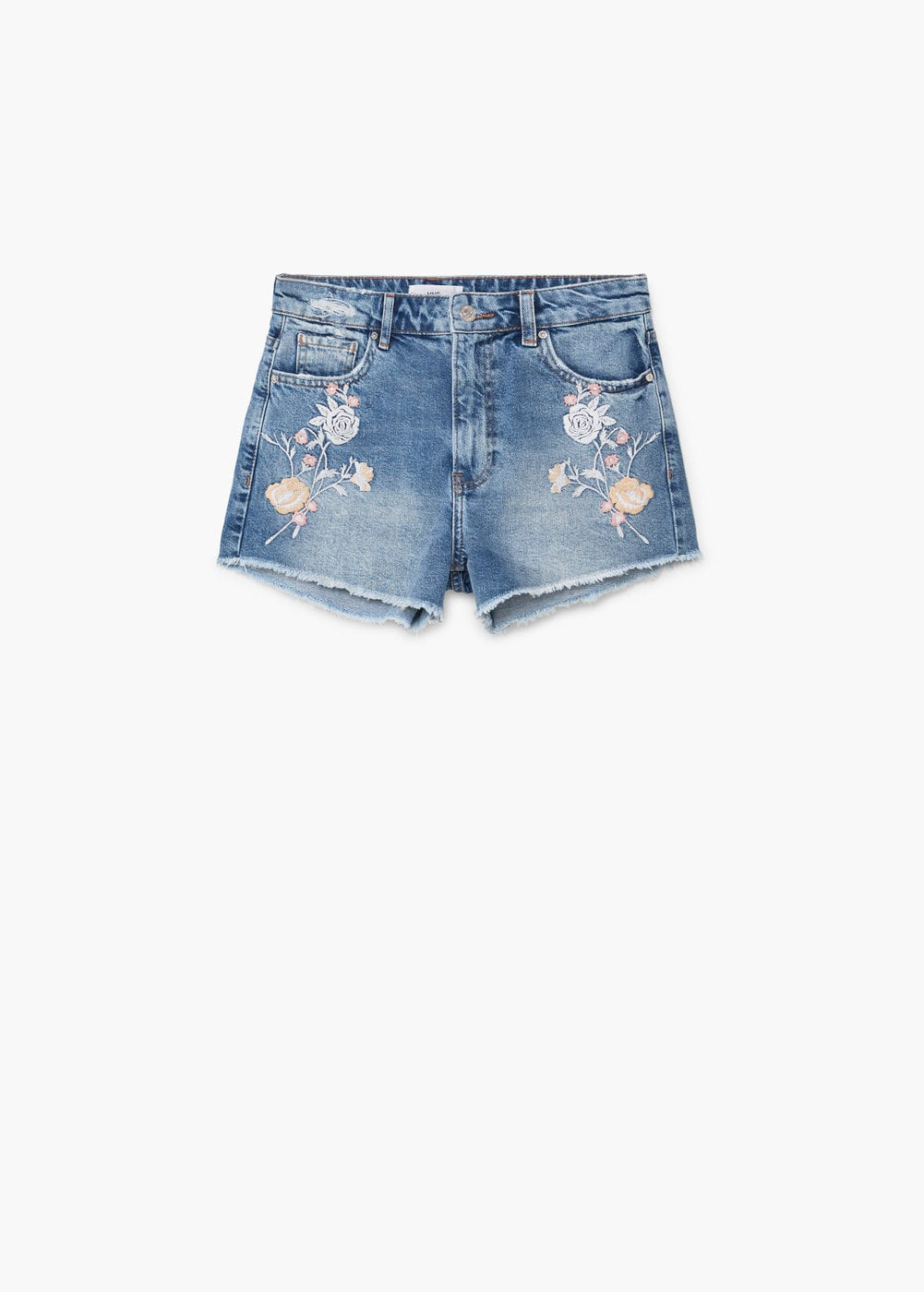 Embroidered denim short | MANGO