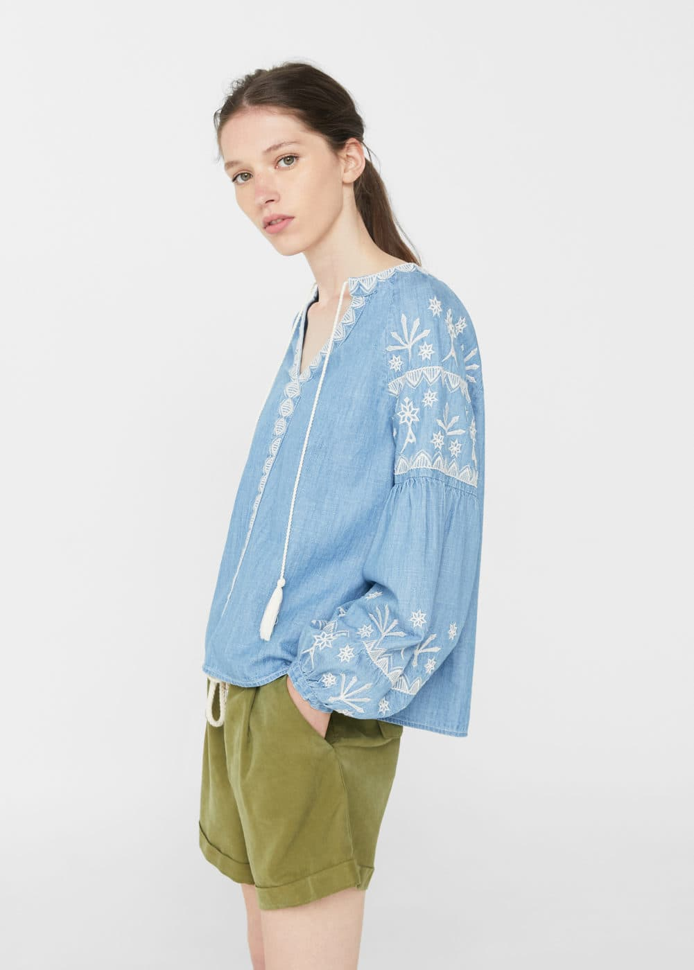 Embroidered denim blouse | MANGO