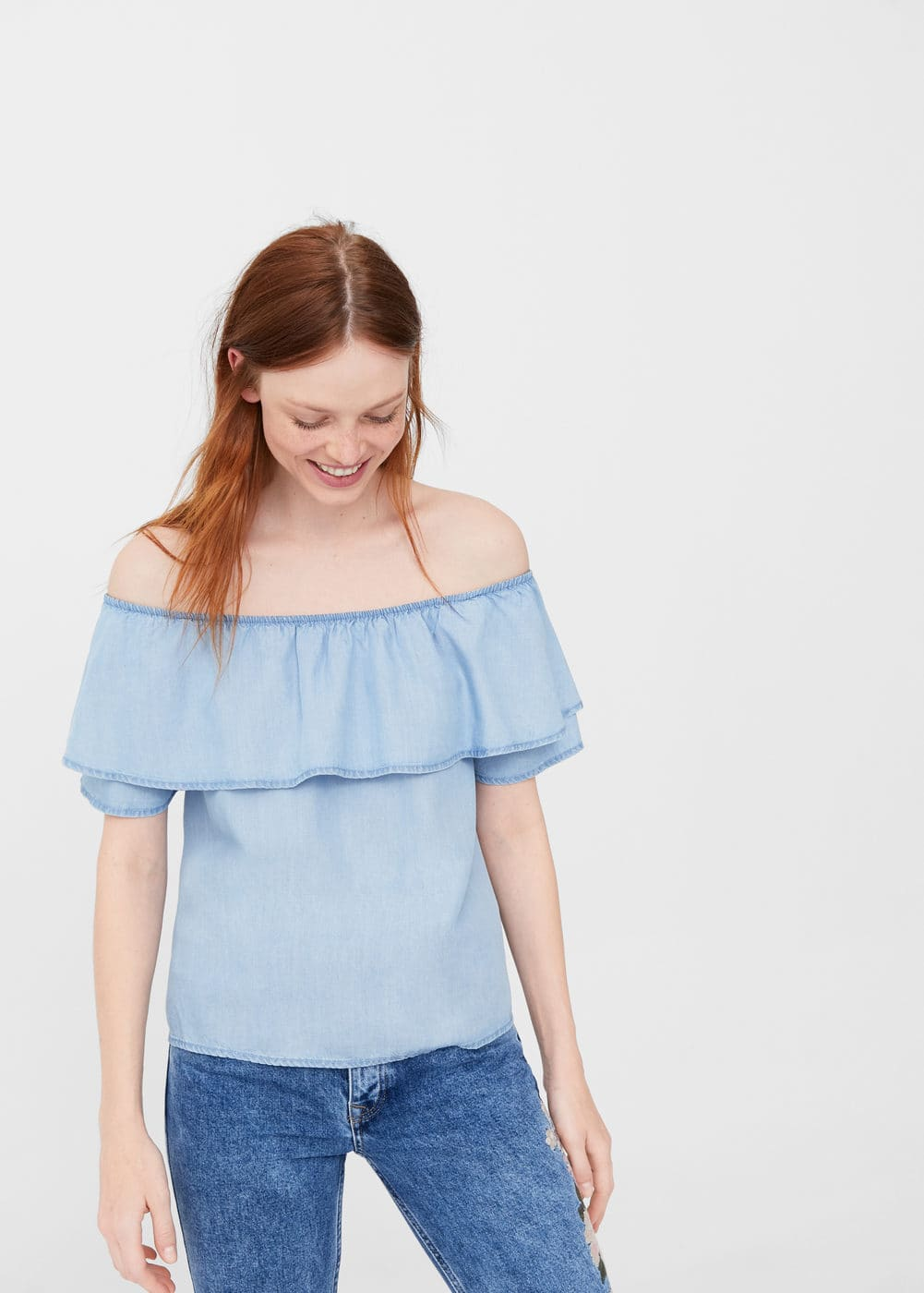 Off shoulder denim blouse | MNG