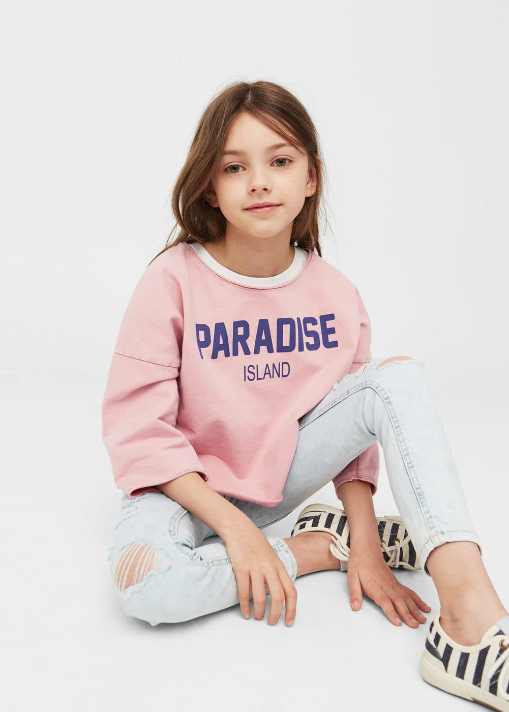 Text crop sweatshirt | MANGO KIDS