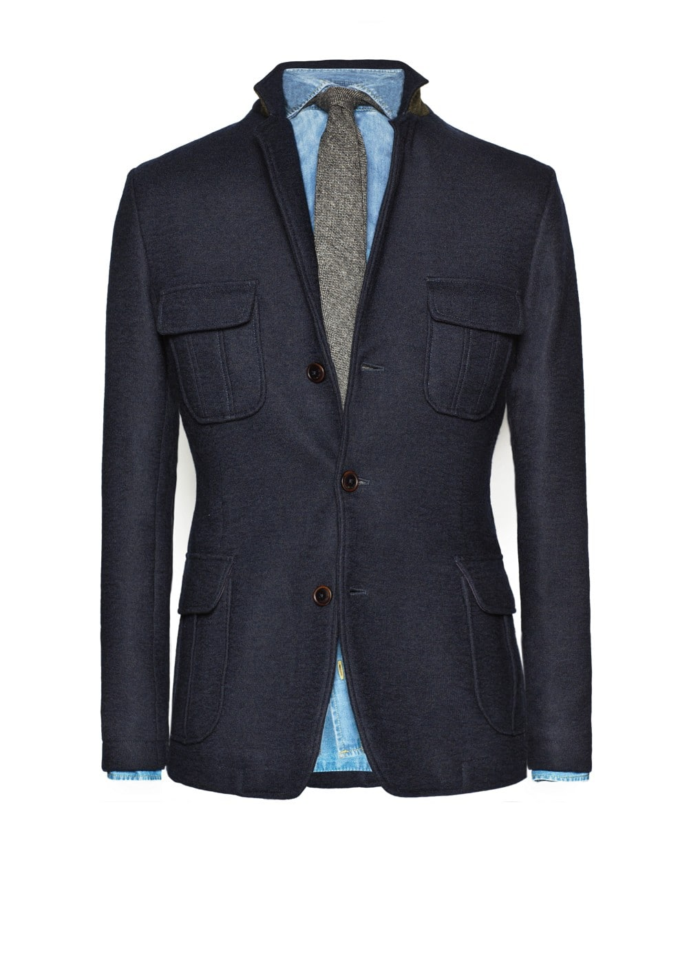 Multi-pocket wool-blend blazer | MANGO MAN