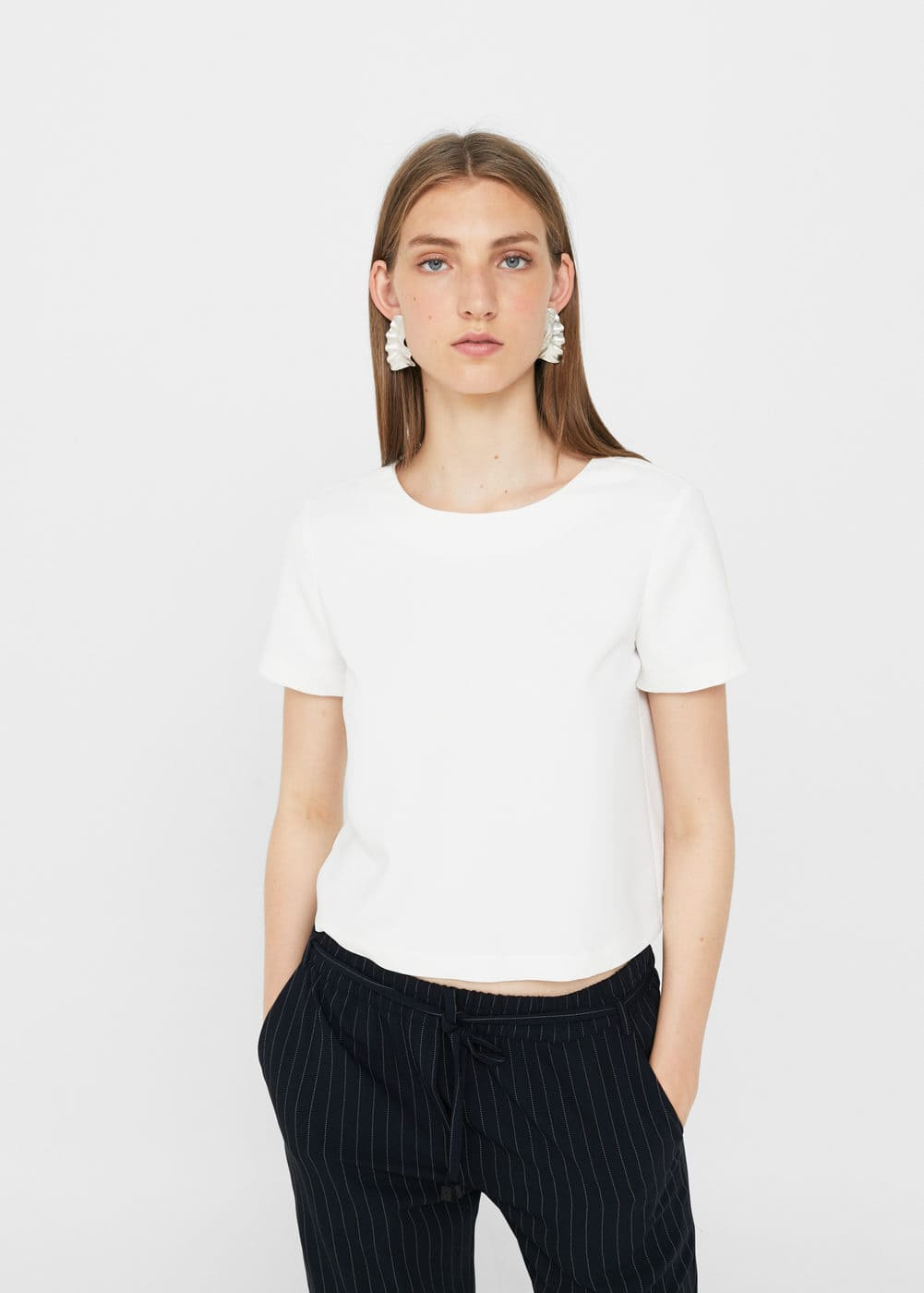 Textured cropped blouse | MANGO
