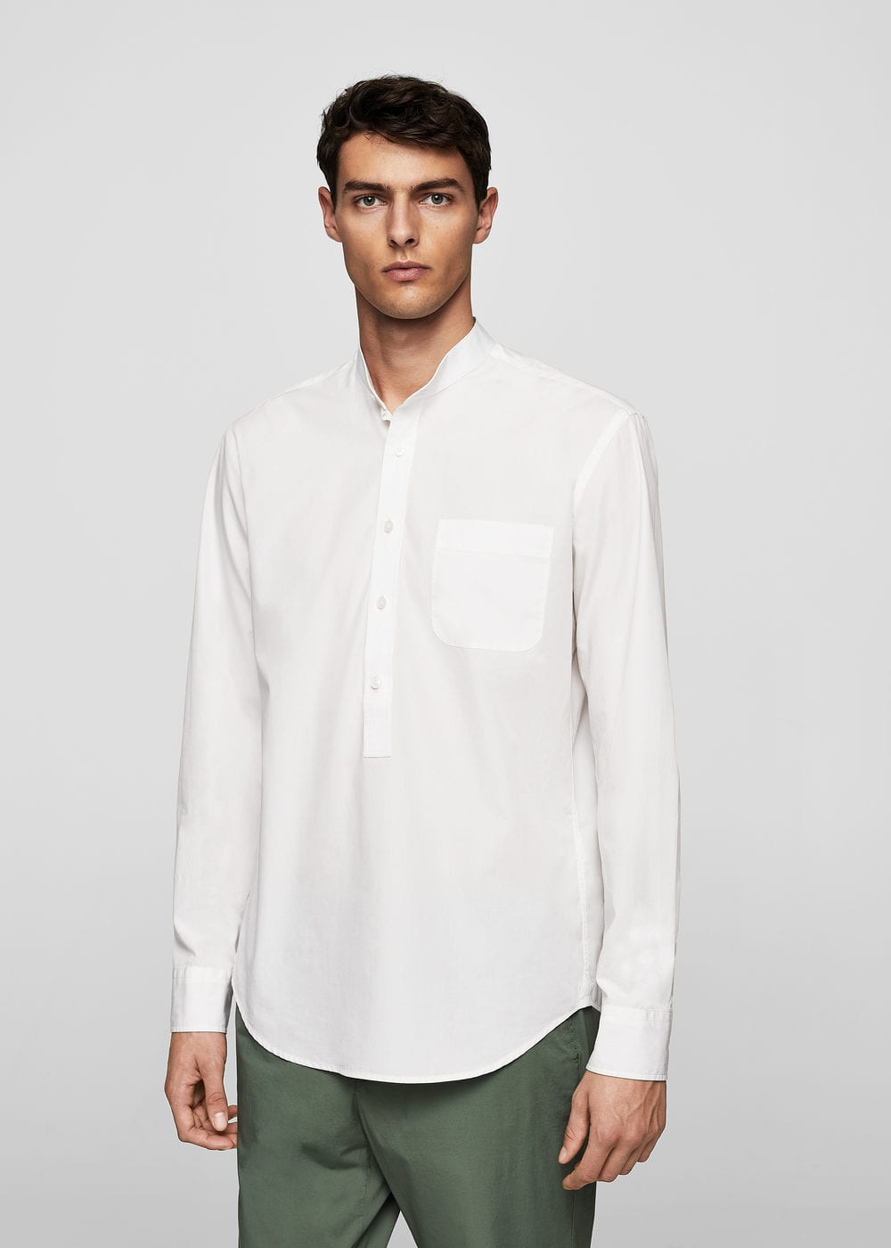 Regular-fit mao collar shirt | MANGO MAN