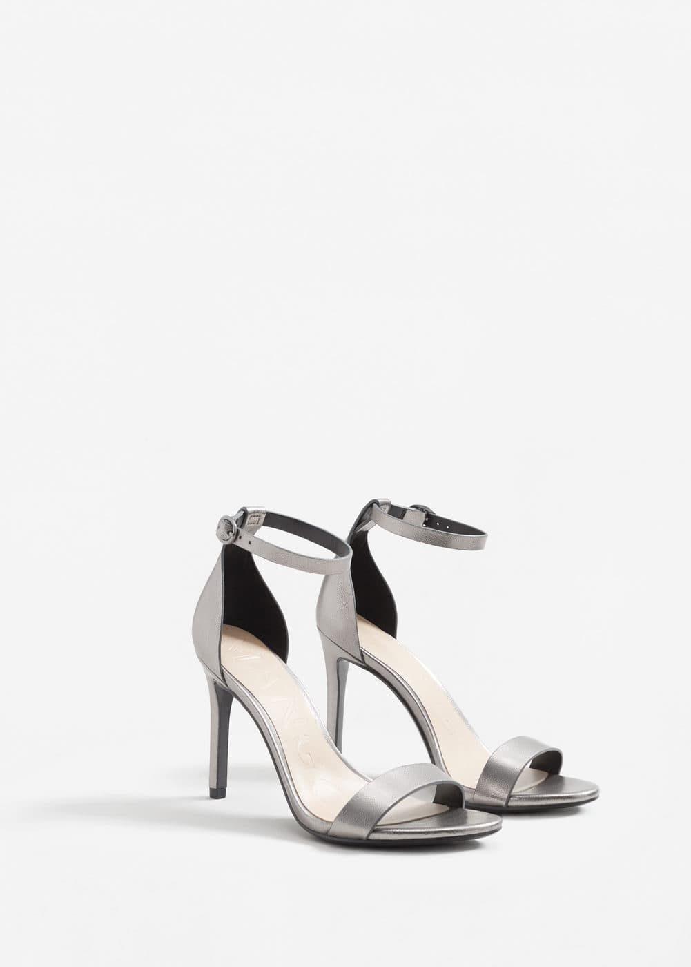 Metallic ankle-cuff sandals | MANGO