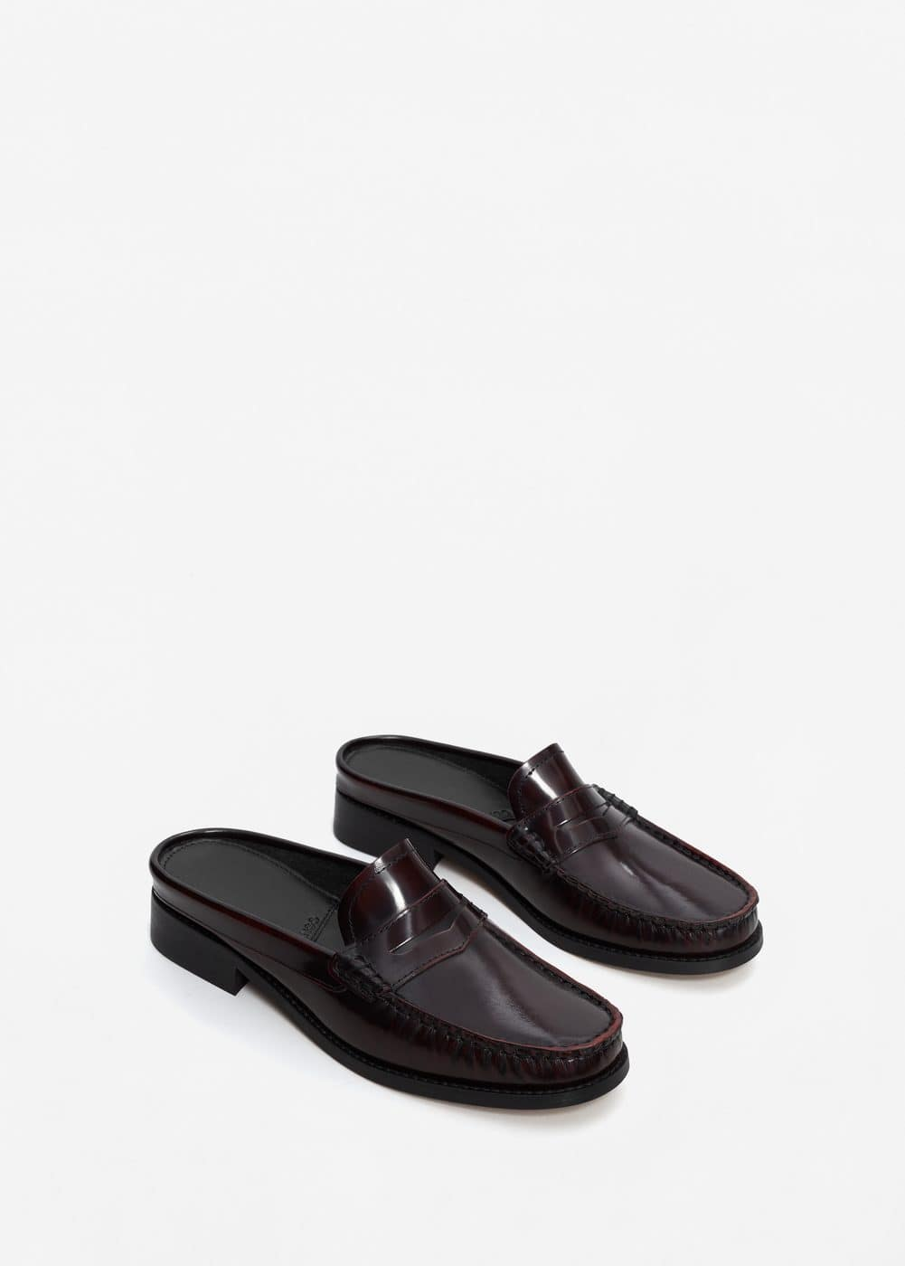 Slip on leather loafers | MANGO