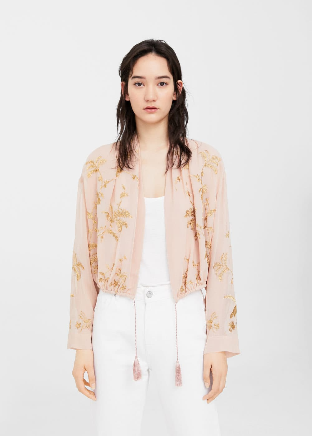 Embroidered flowy jacket | MANGO
