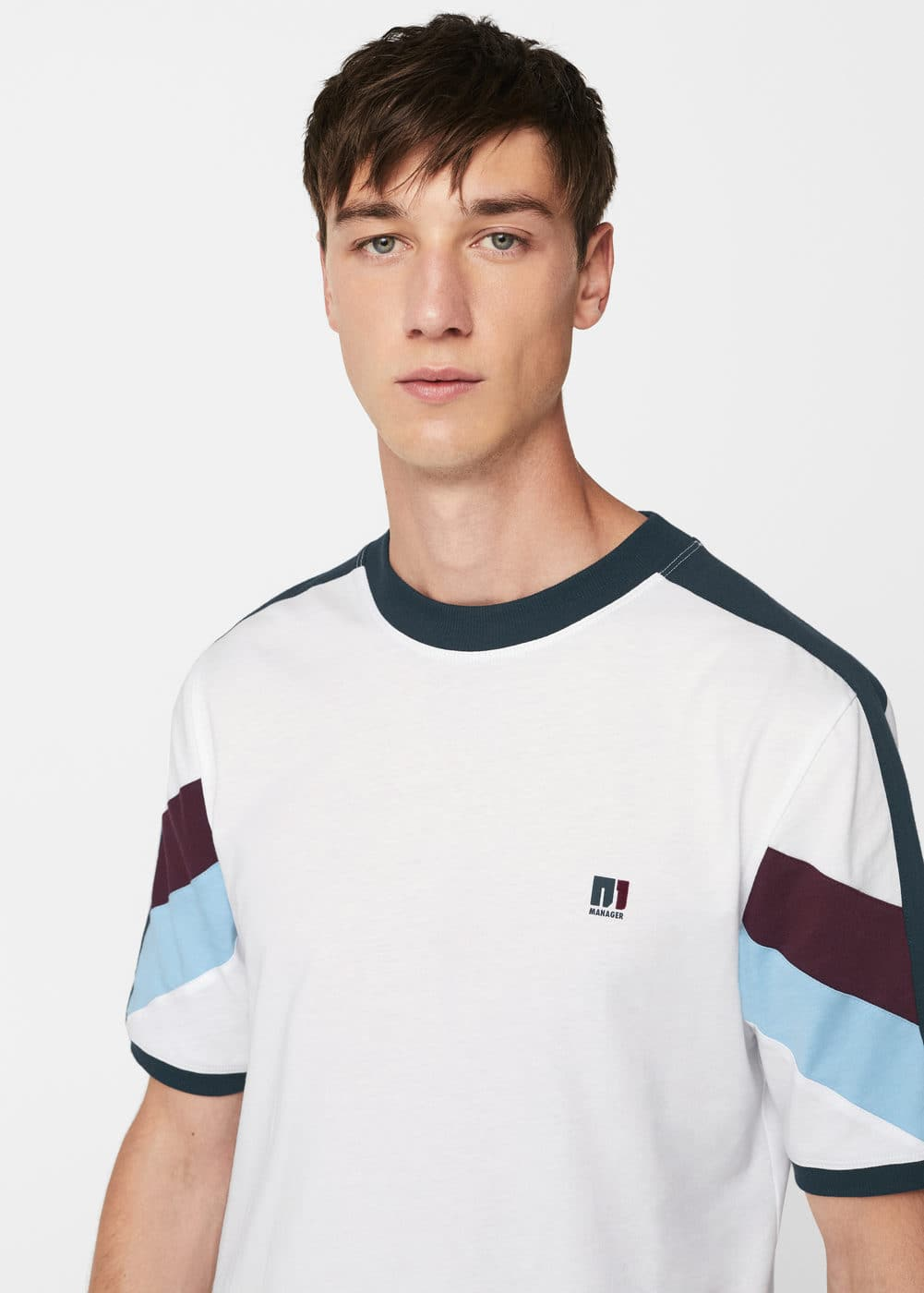 Cotton trim t-shirt | MANGO MAN