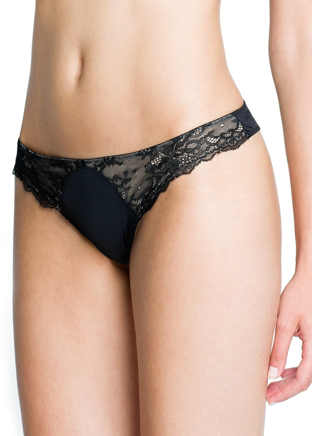 Lace panel thong | MANGO
