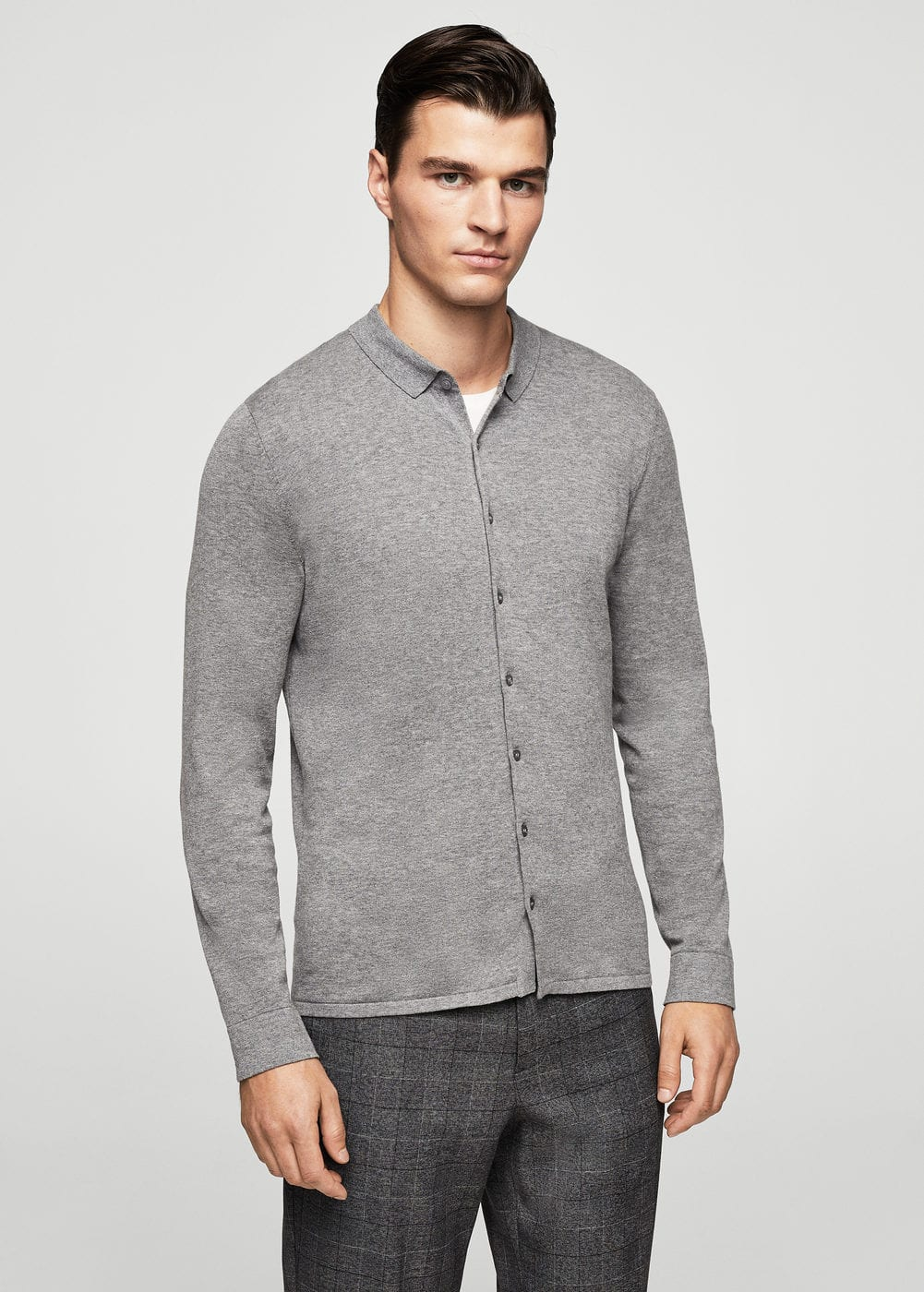 Cotton knit shirt | MANGO MAN