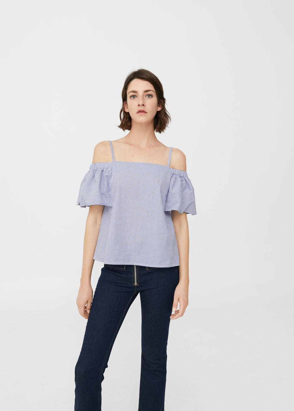 Top off-shoulder ratlles | MANGO