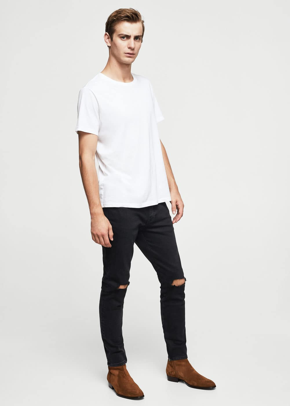 Jeans jaden slim-fit negros rotos | MANGO MAN