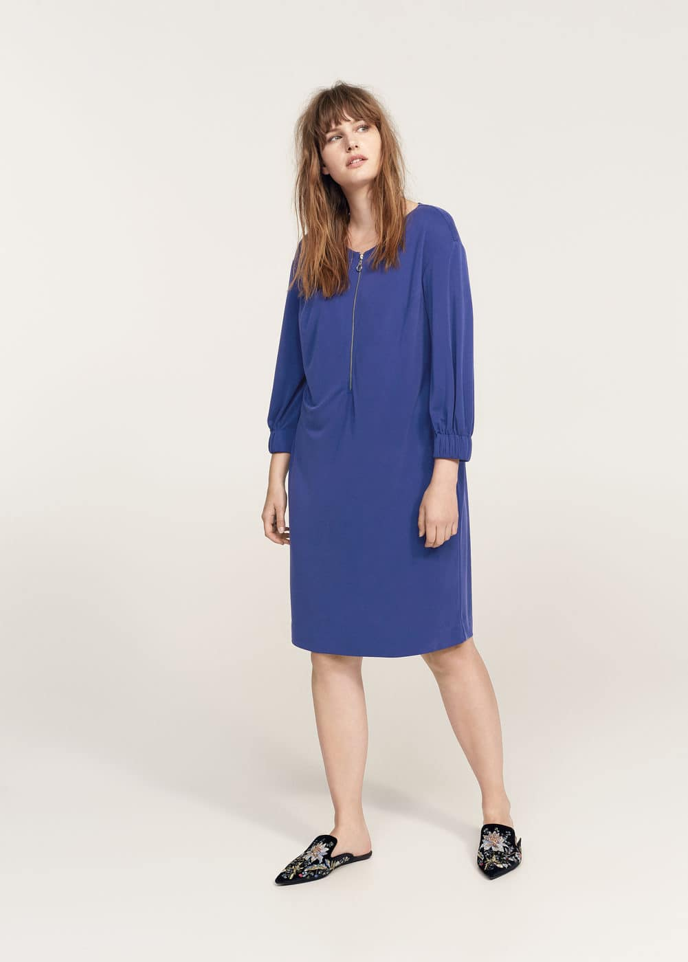 Abito zip scollo | VIOLETA BY MANGO