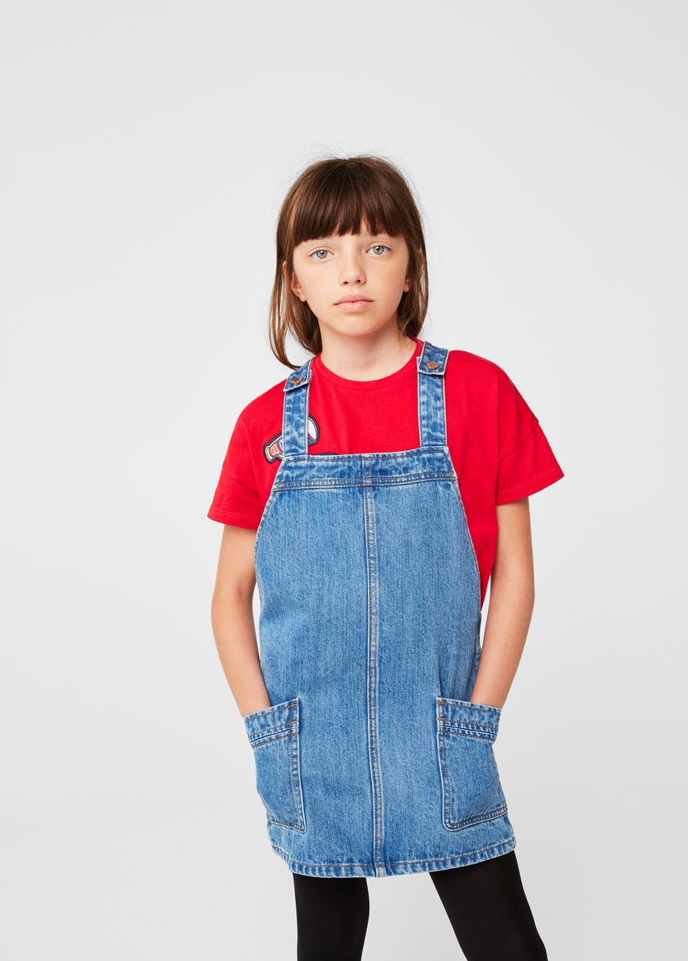 Medium denim pinafore dress | MANGO