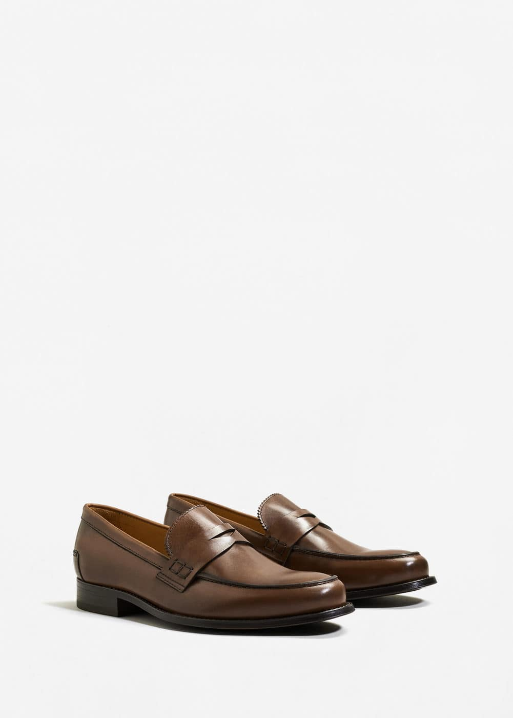 Leather penny loafers | MANGO MAN