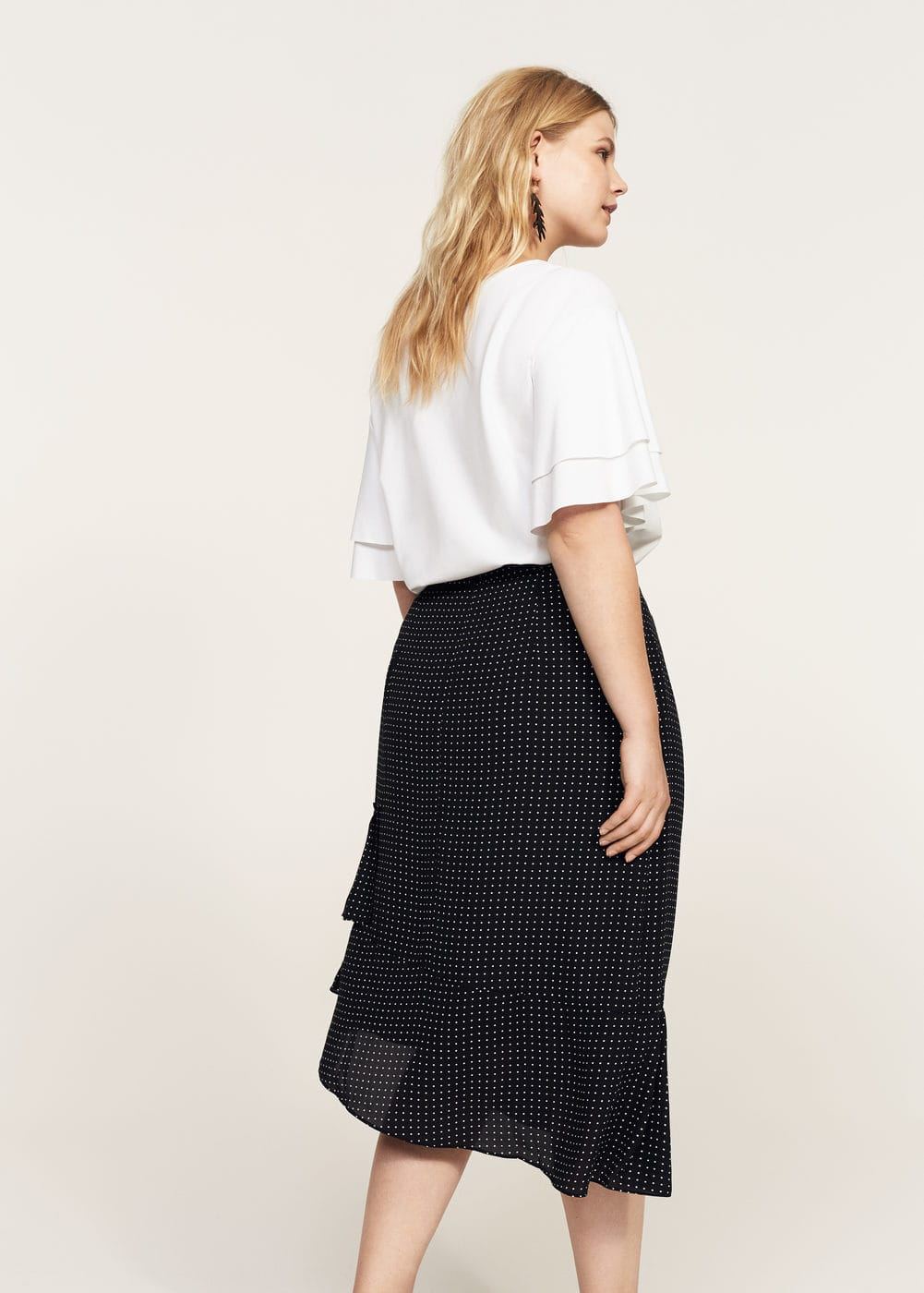 Ruffled polka dot skirt | MANGO