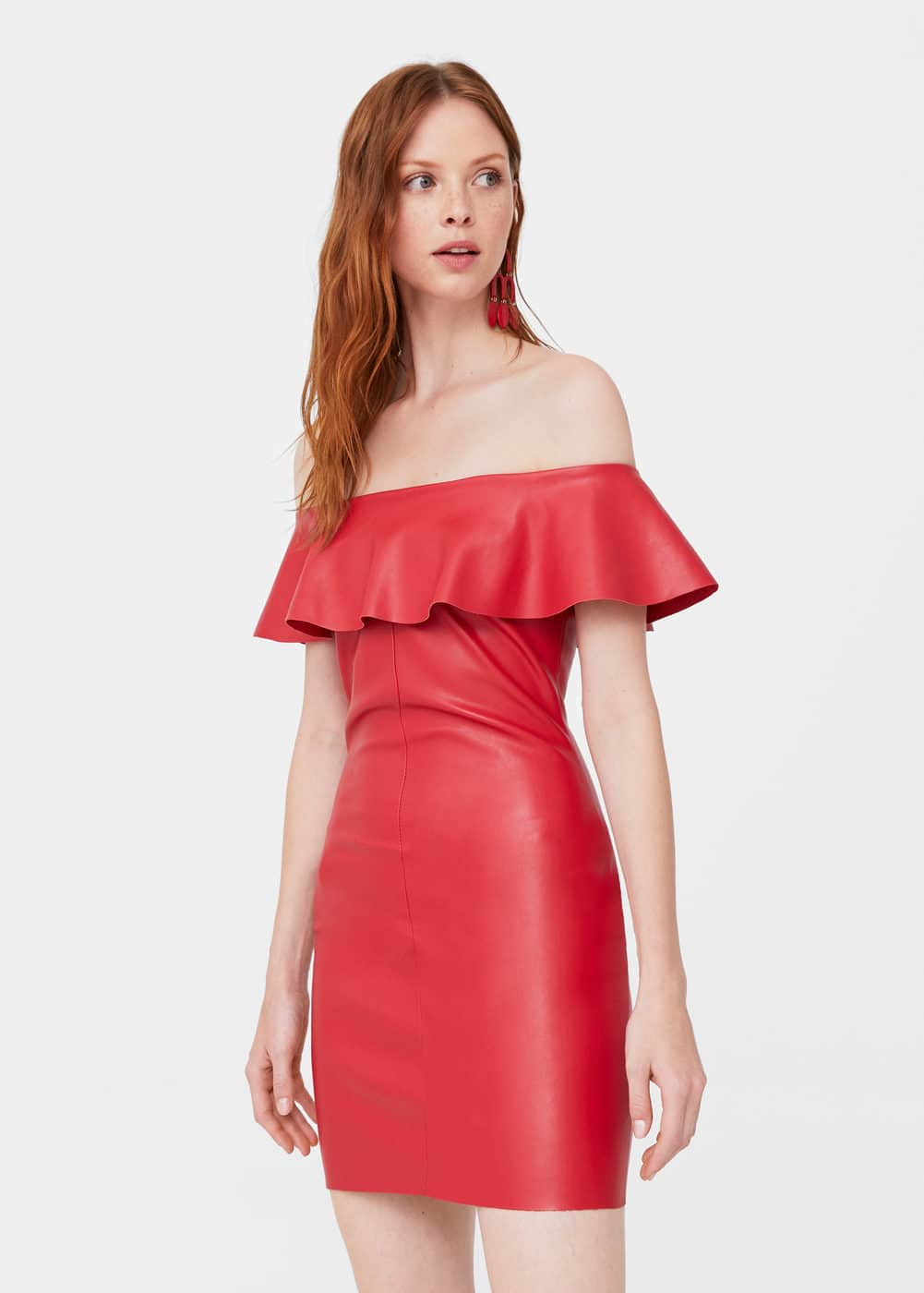 Ruffled off-shoulder dress | MANGO