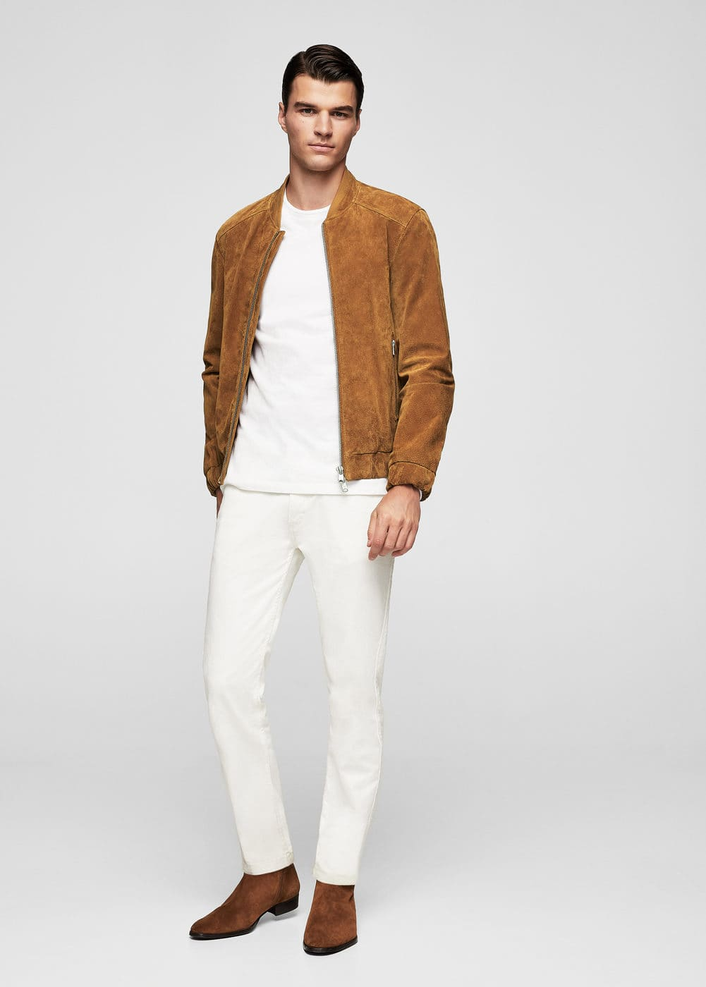 Zipped suede bomber jacket | MANGO