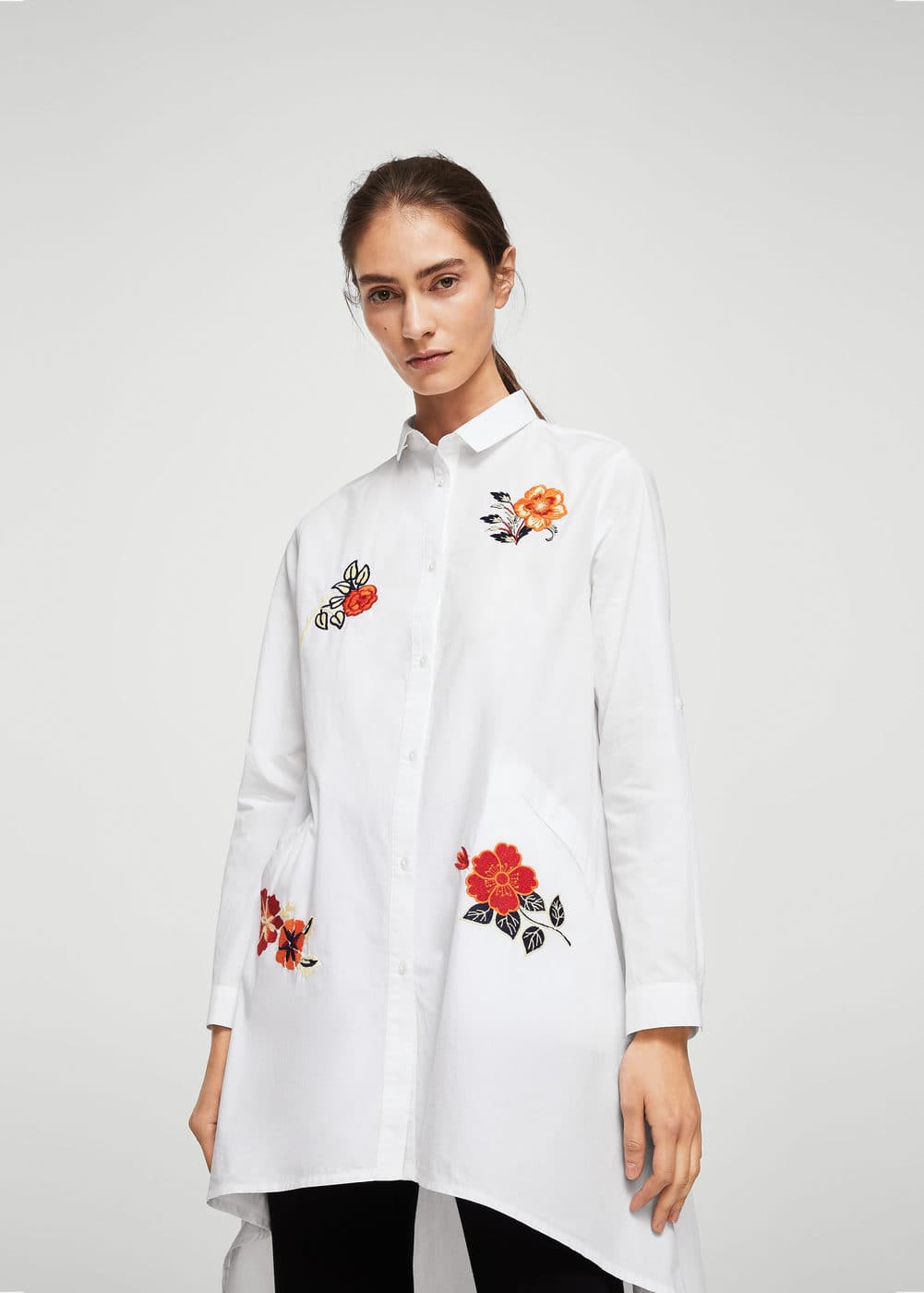 Floral embroidered shirt | MANGO