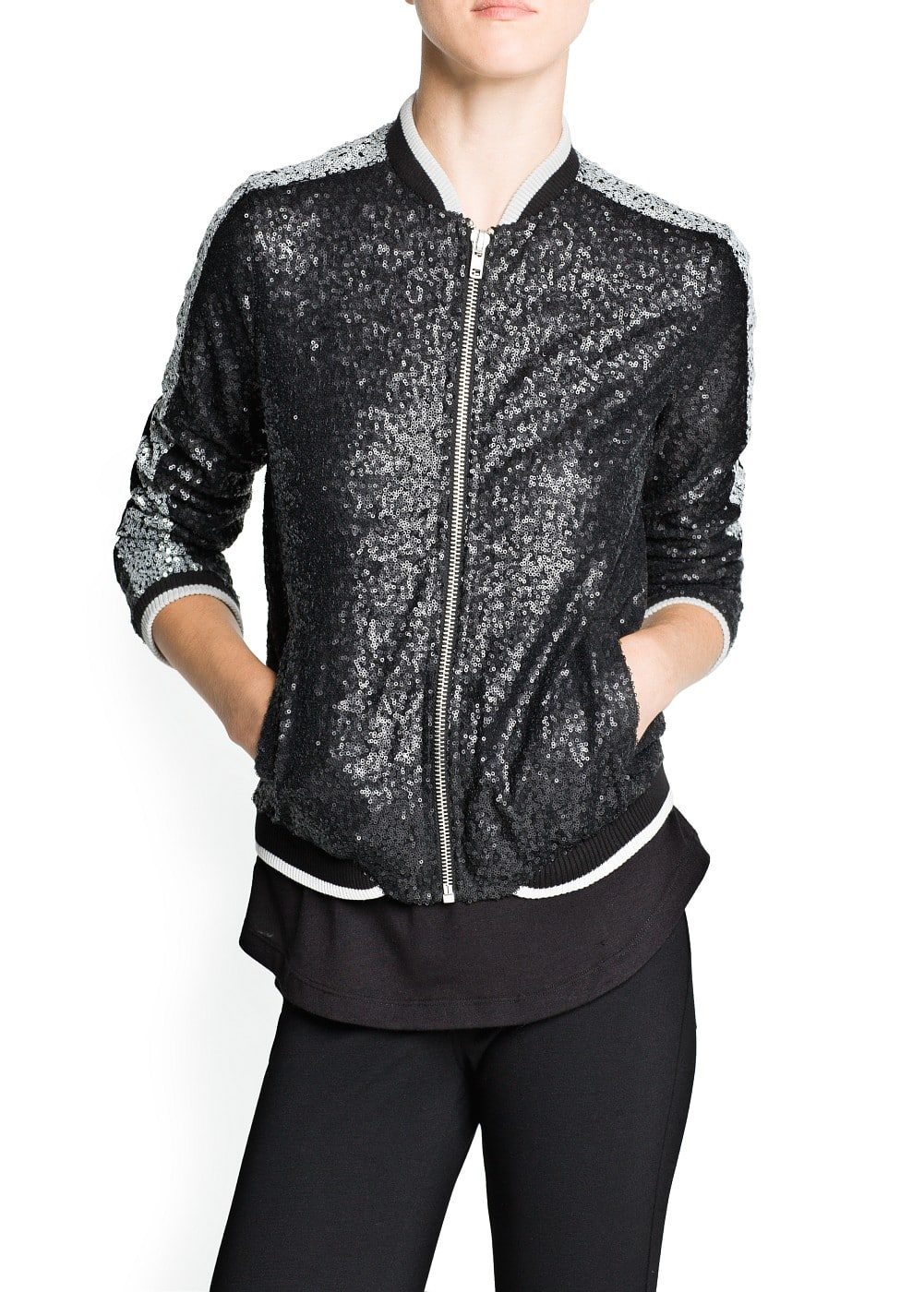 Sequin bomber jacket | MANGO