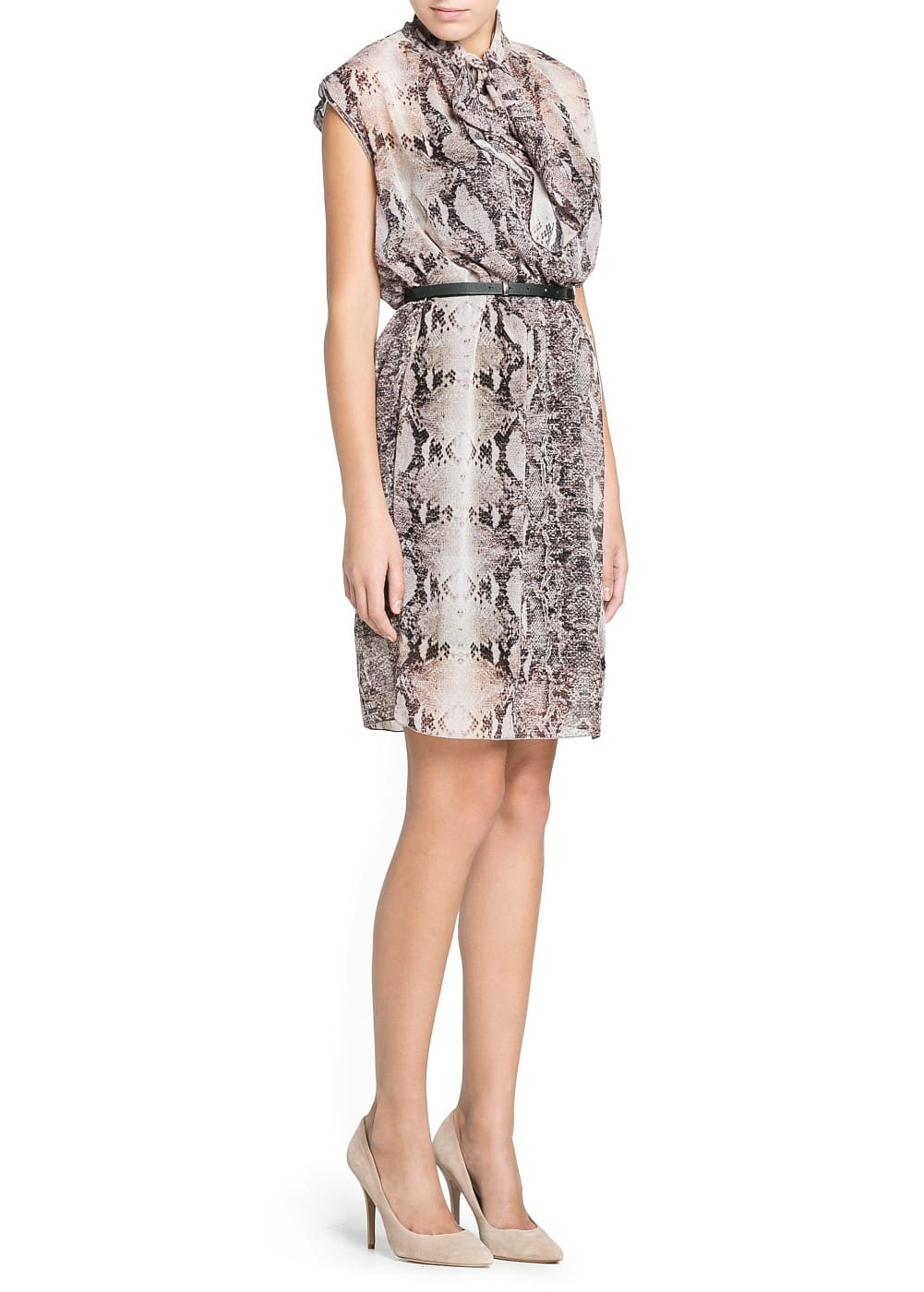 Snakeskin print chiffon dress | MANGO