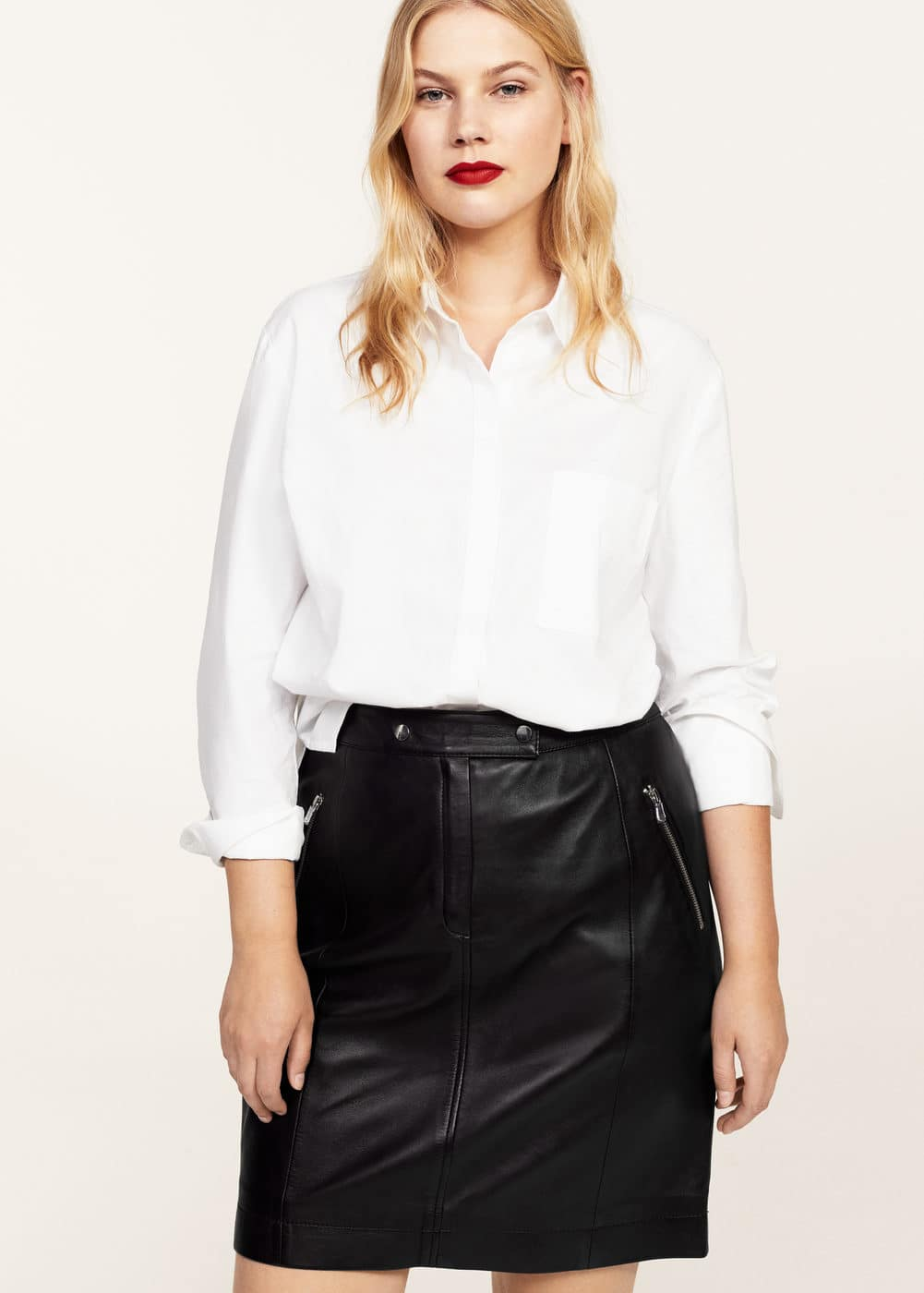 Zipped leather skirt | VIOLETA BY MANGO