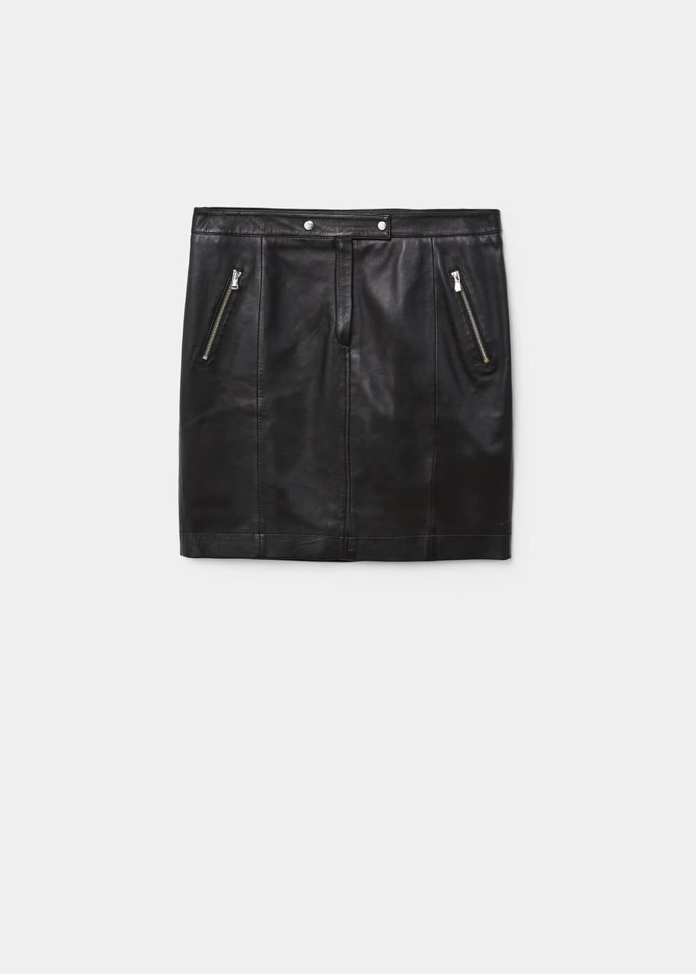 Zipped leather skirt | MANGO