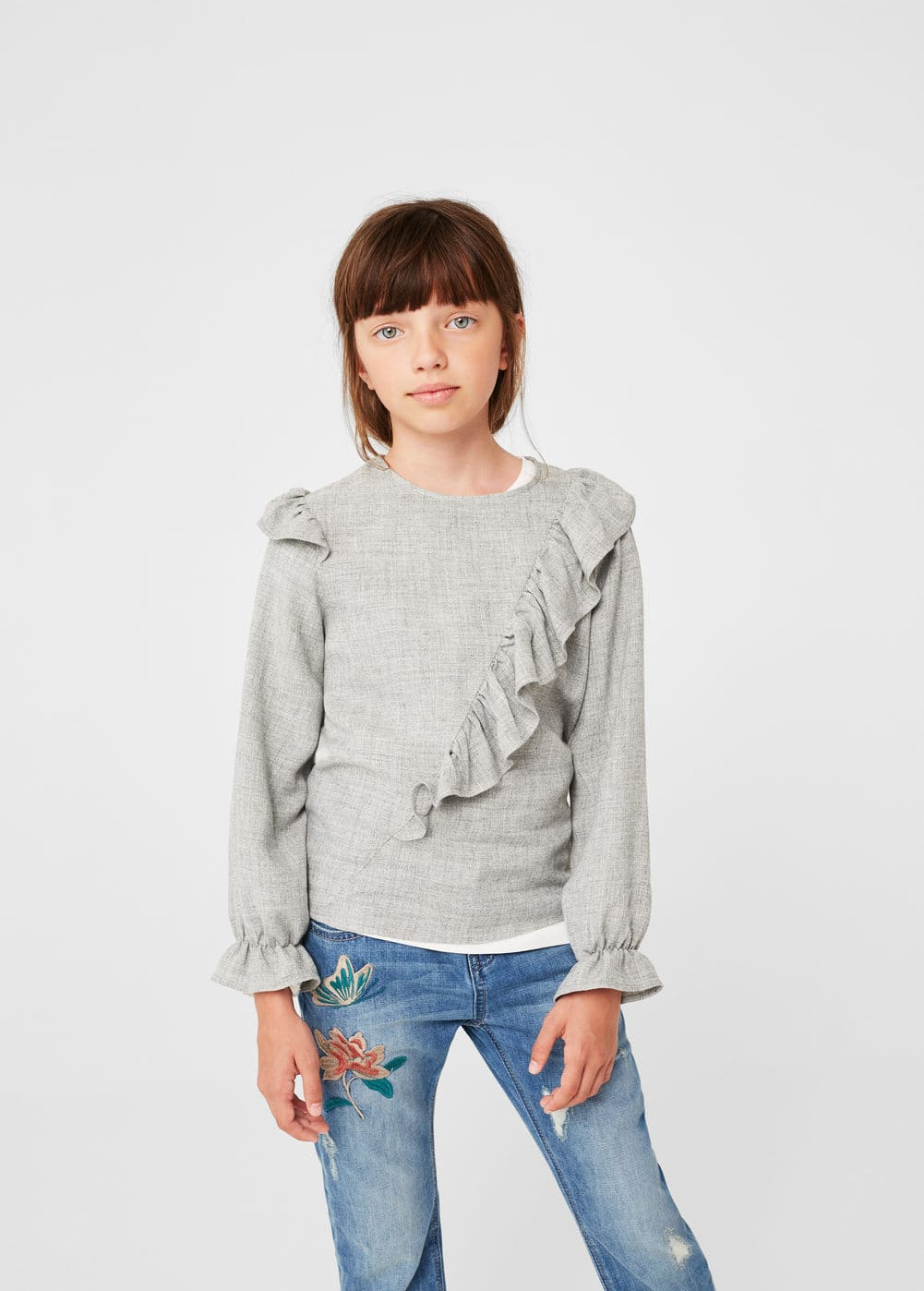 Decorative ruffle blouse | MANGO KIDS