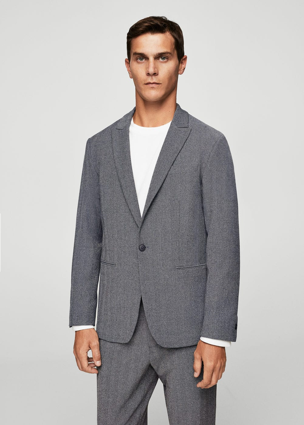 Herringbone slim-fit suit blazer | MANGO MAN