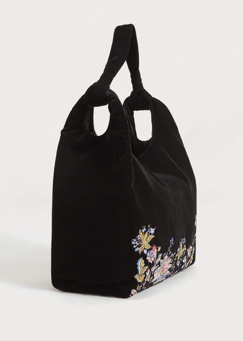 Floral embroidery velvet bag | MANGO