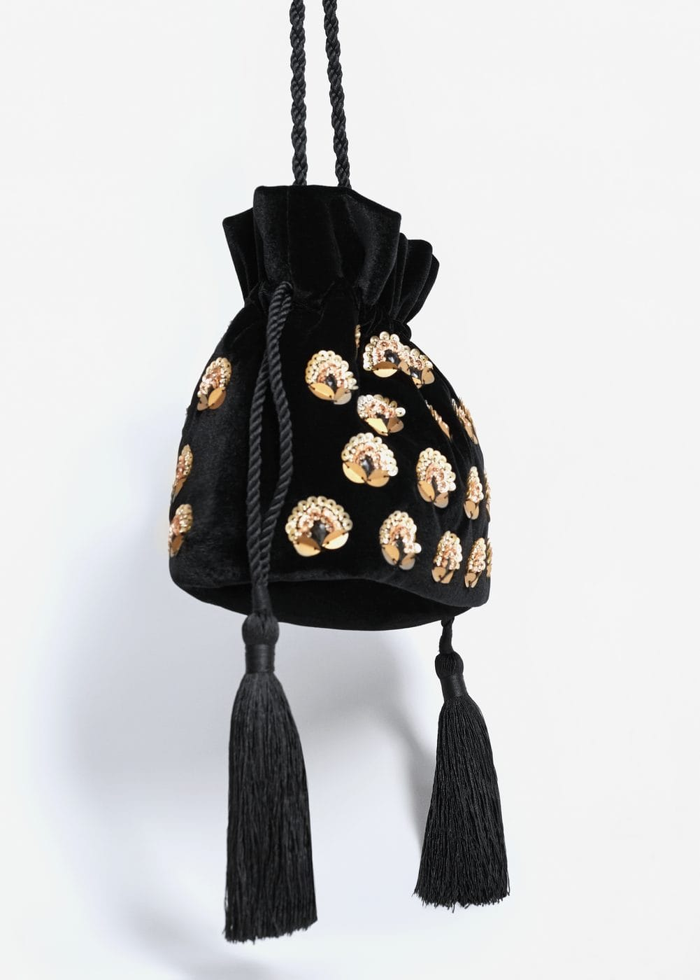 Velvet bead bag | MANGO
