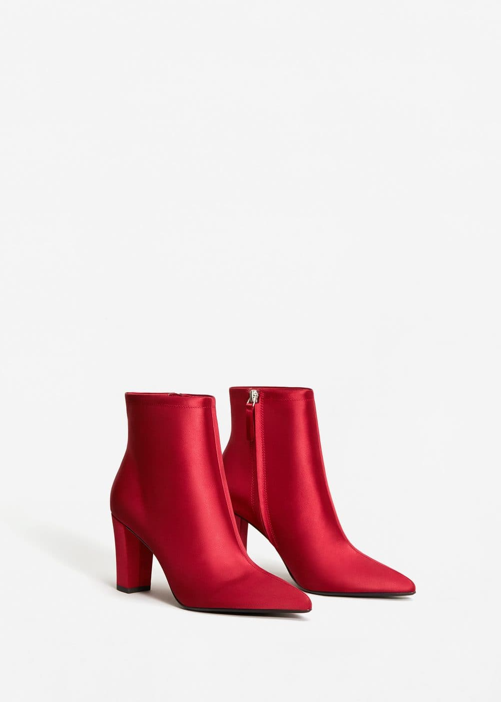 Satined fabric ankle boots | MANGO