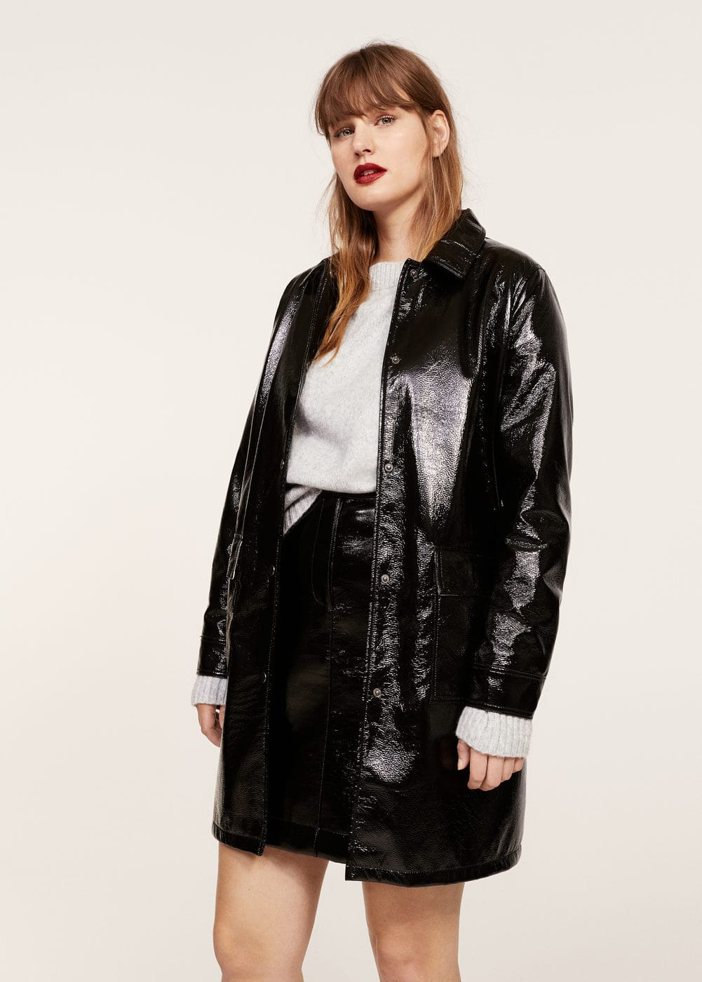 Pocketed vinyl trench coat