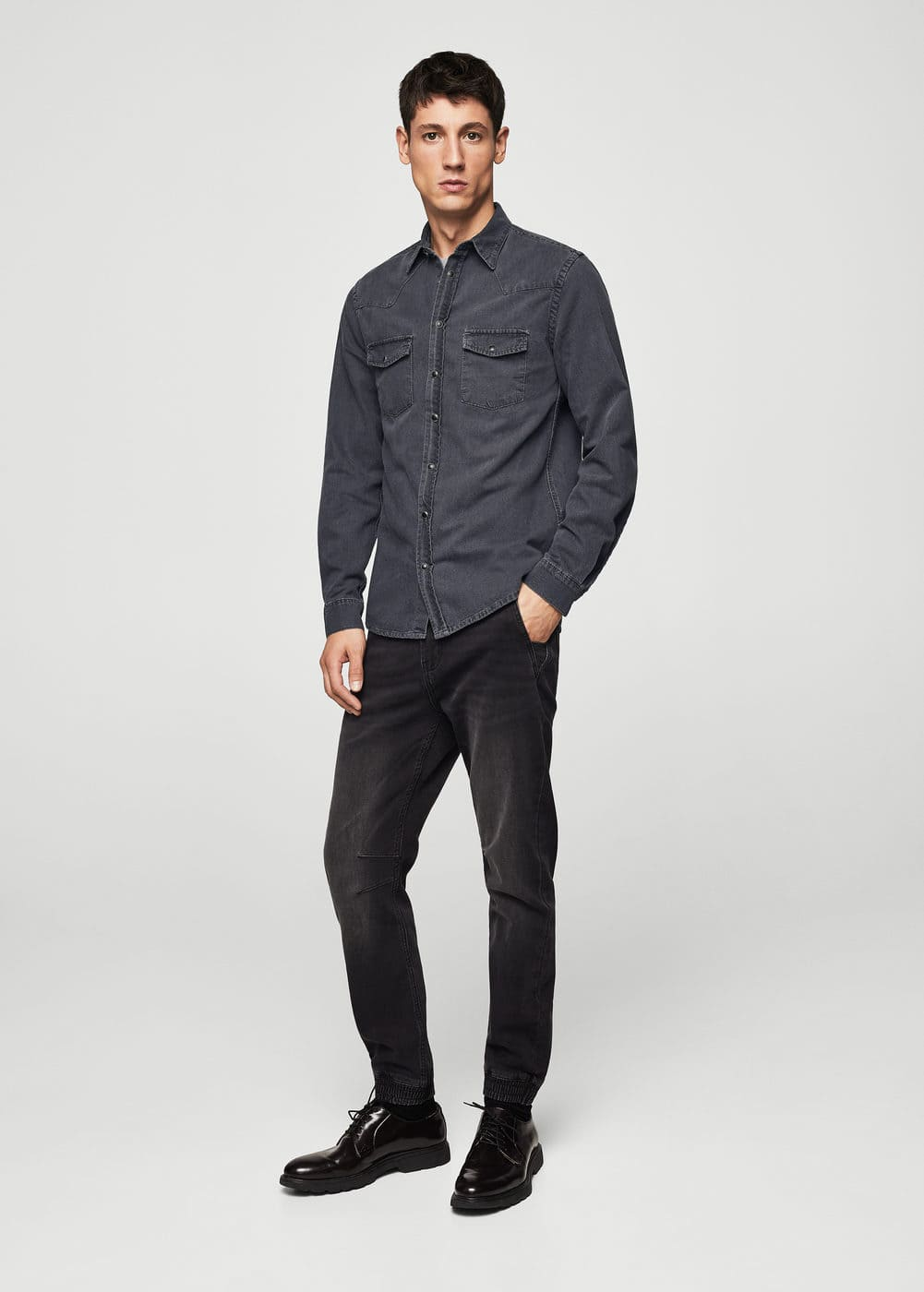 Slim-fit denim shirt | MANGO MAN