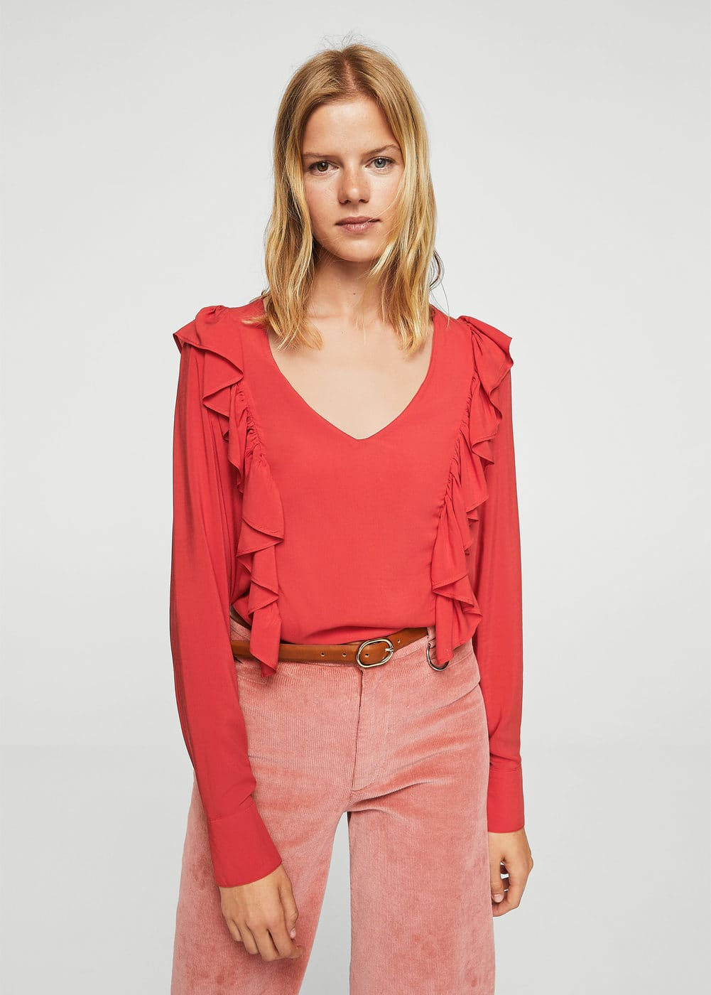 Ruffled panel blouse | MANGO