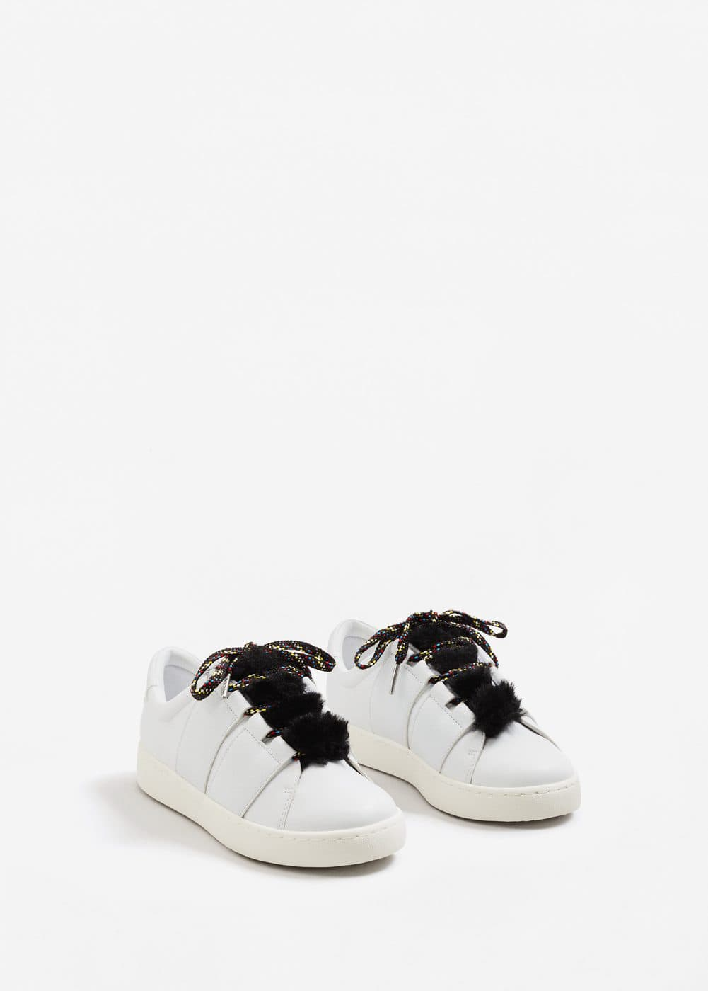 Fur lace-up sneakers | MANGO