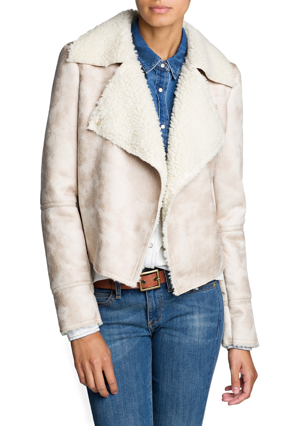 Faux shearling-lined jacket | MANGO