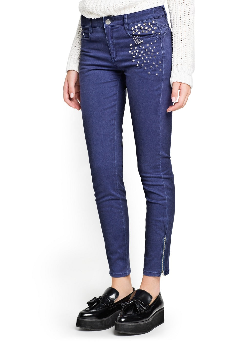 cotton-blend studded trousers | MANGO