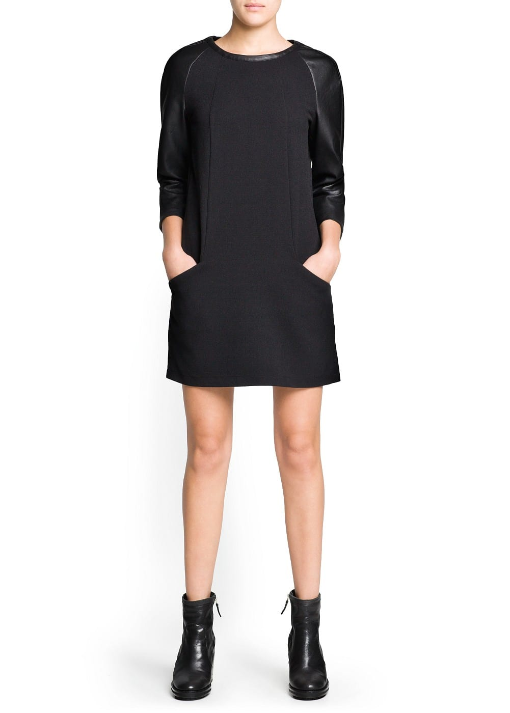 Contrast sleeve shift dress | MANGO