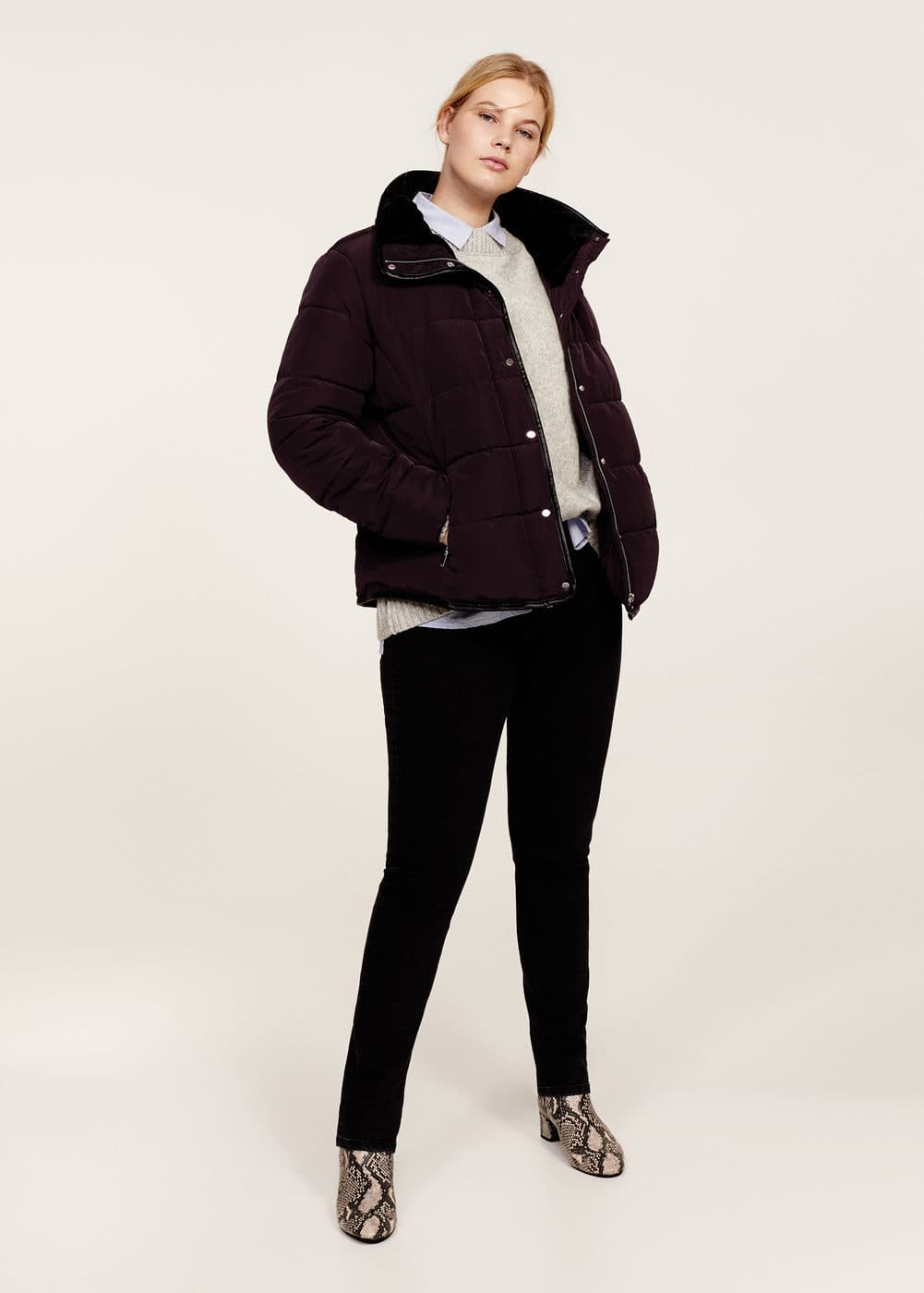 Hidden hood quilted anorak | VIOLETA BY MANGO
