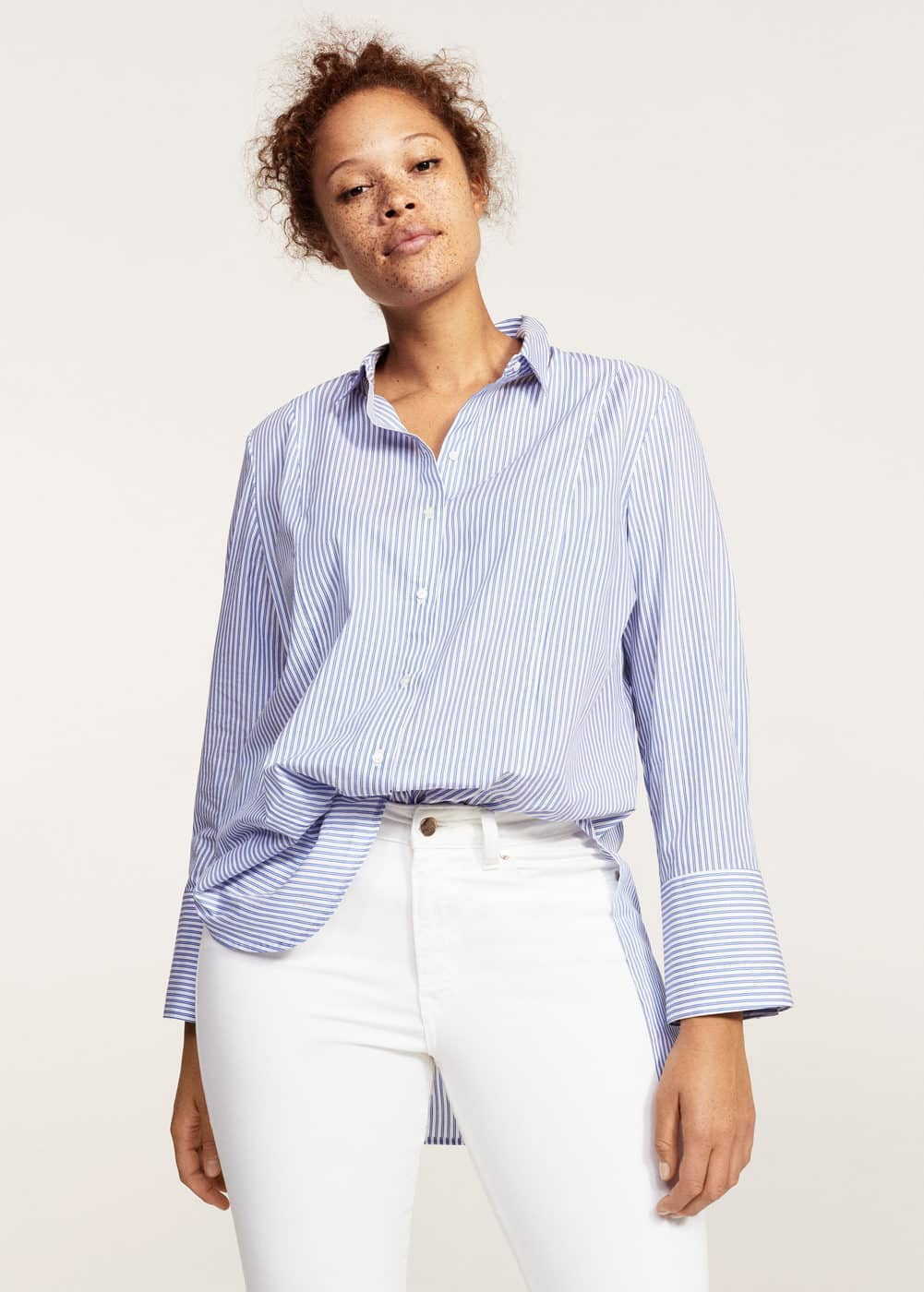 Striped cotton blouse | VIOLETA BY MANGO